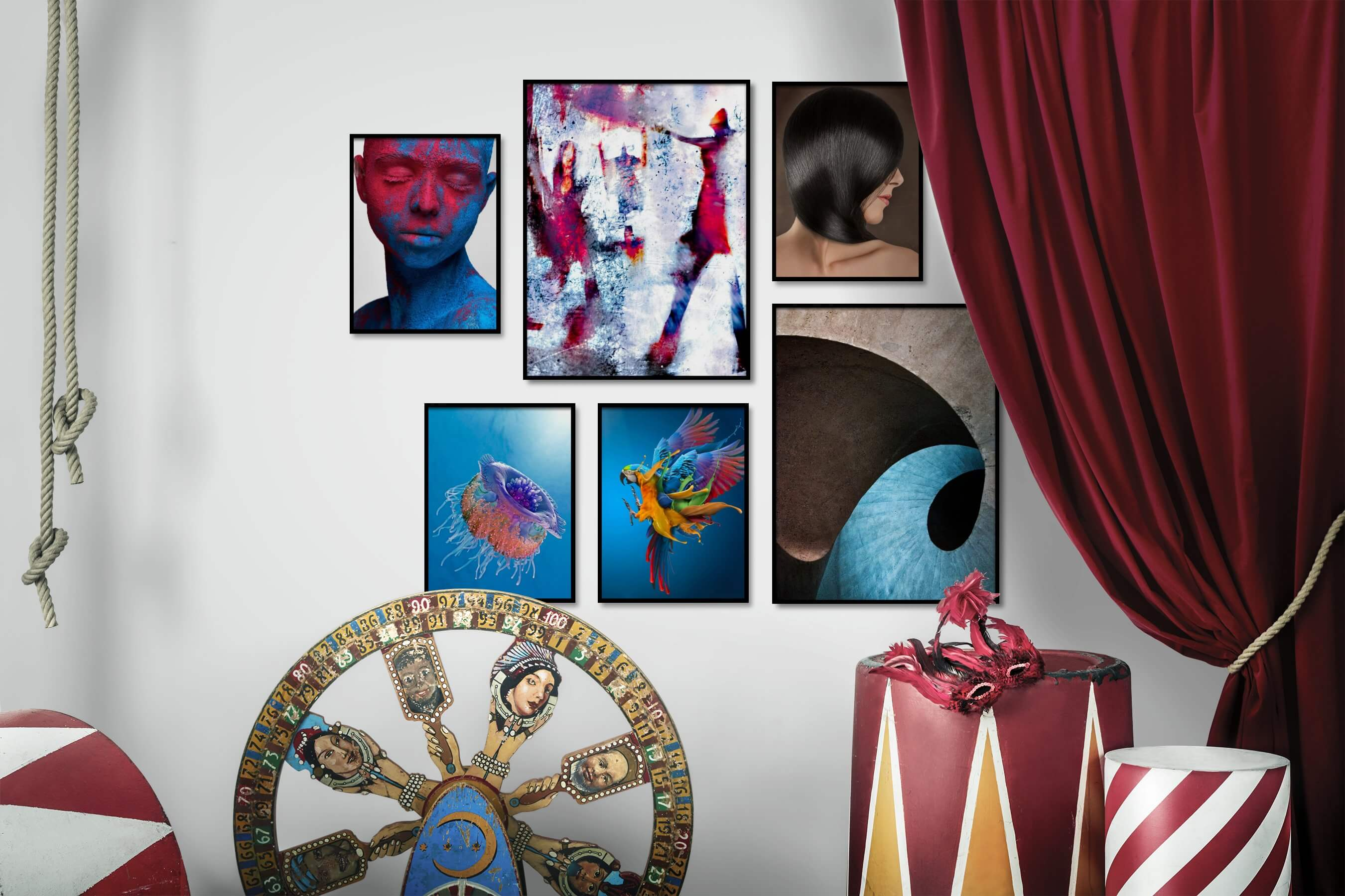 Gallery wall idea with six framed pictures arranged on a wall depicting Fashion & Beauty, Colorful, Artsy, For the Maximalist, For the Minimalist, Animals, and For the Moderate