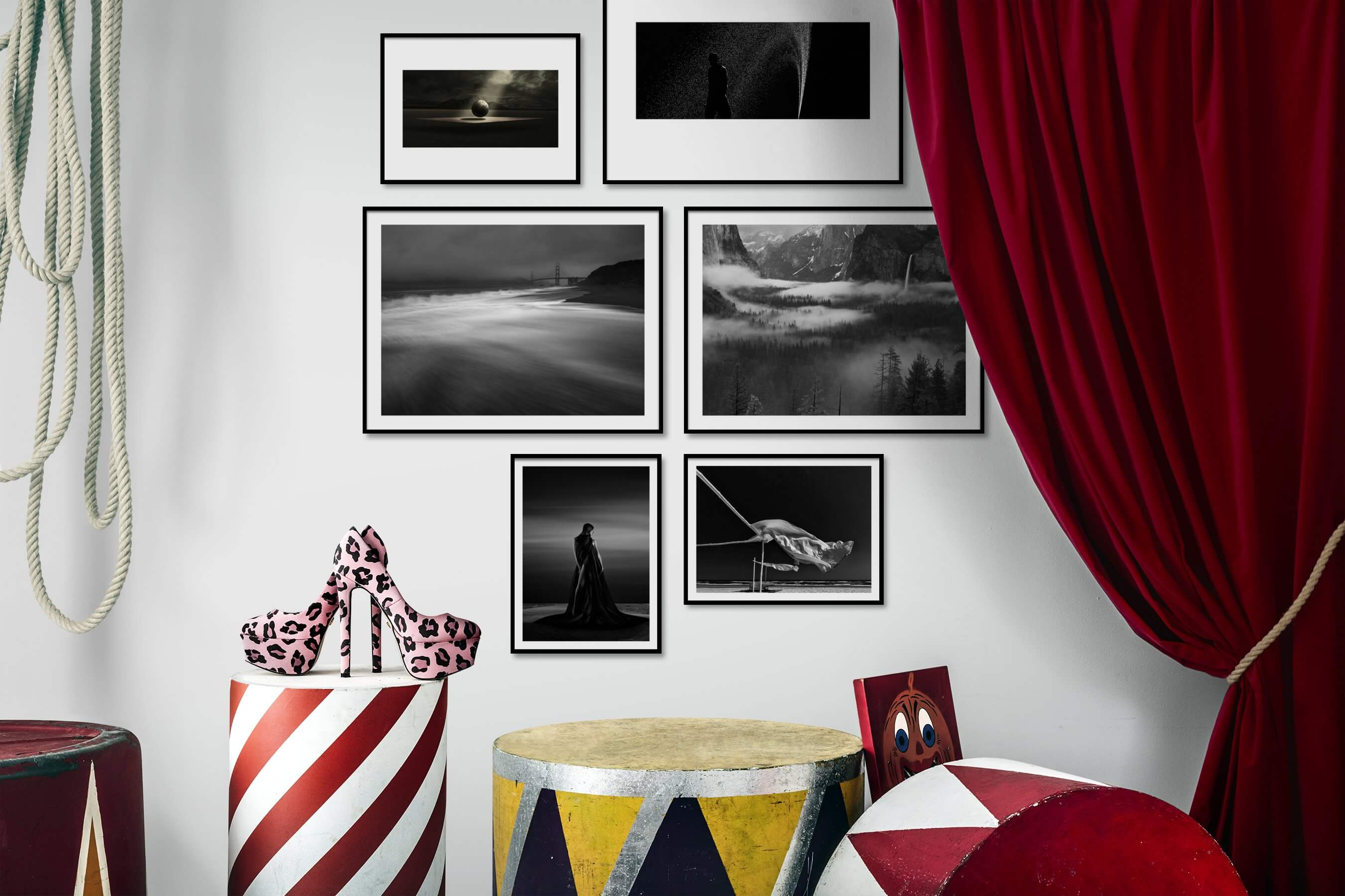 Gallery wall idea with six framed pictures arranged on a wall depicting Artsy, Black & White, For the Minimalist, Beach & Water, Americana, Nature, and Fashion & Beauty