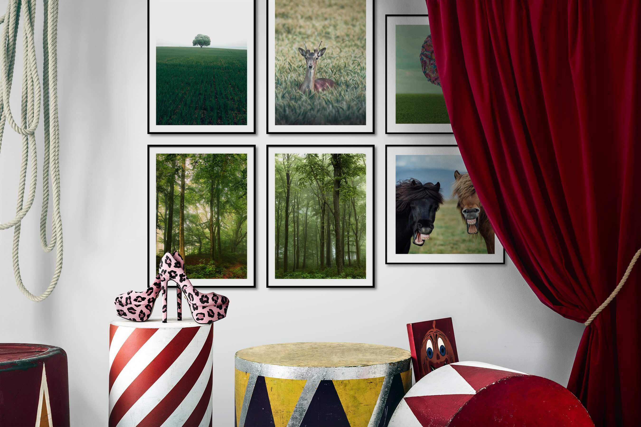 Gallery wall idea with six framed pictures arranged on a wall depicting For the Minimalist, Country Life, Animals, Nature, Artsy, and Flowers & Plants