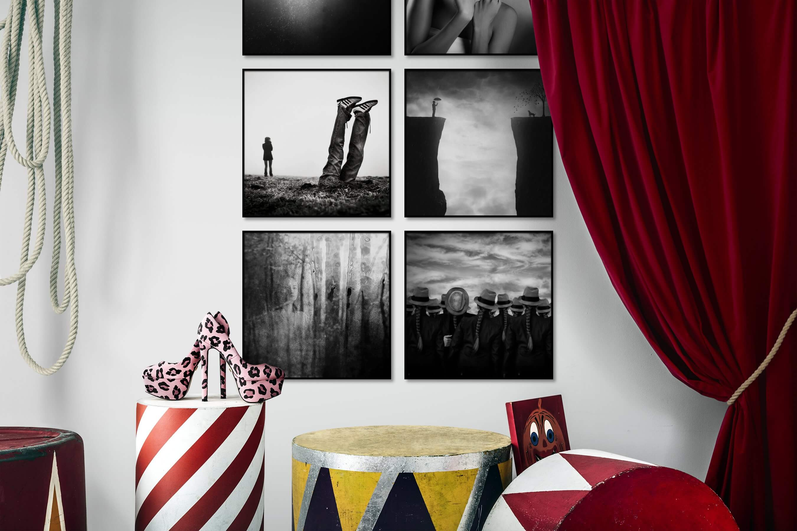 Gallery wall idea with six framed pictures arranged on a wall depicting Artsy, Black & White, and For the Minimalist