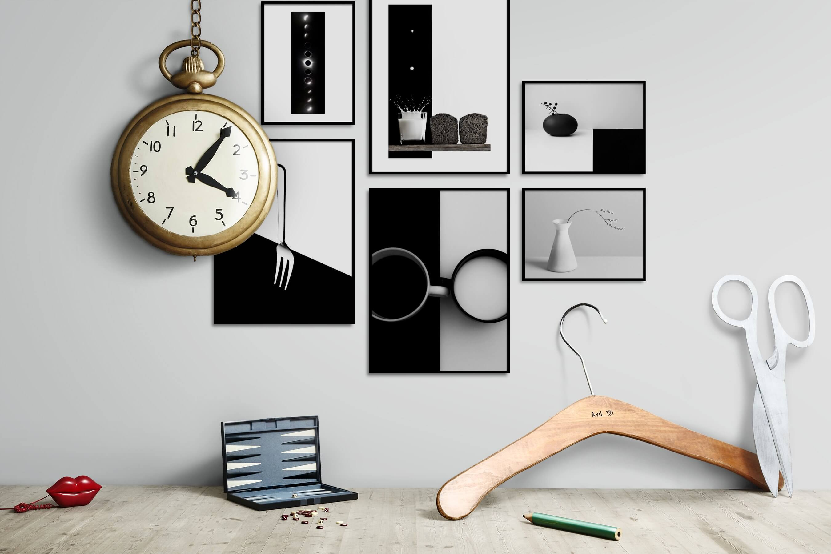 Gallery wall idea with six framed pictures arranged on a wall depicting Black & White, For the Minimalist, Nature, and Flowers & Plants