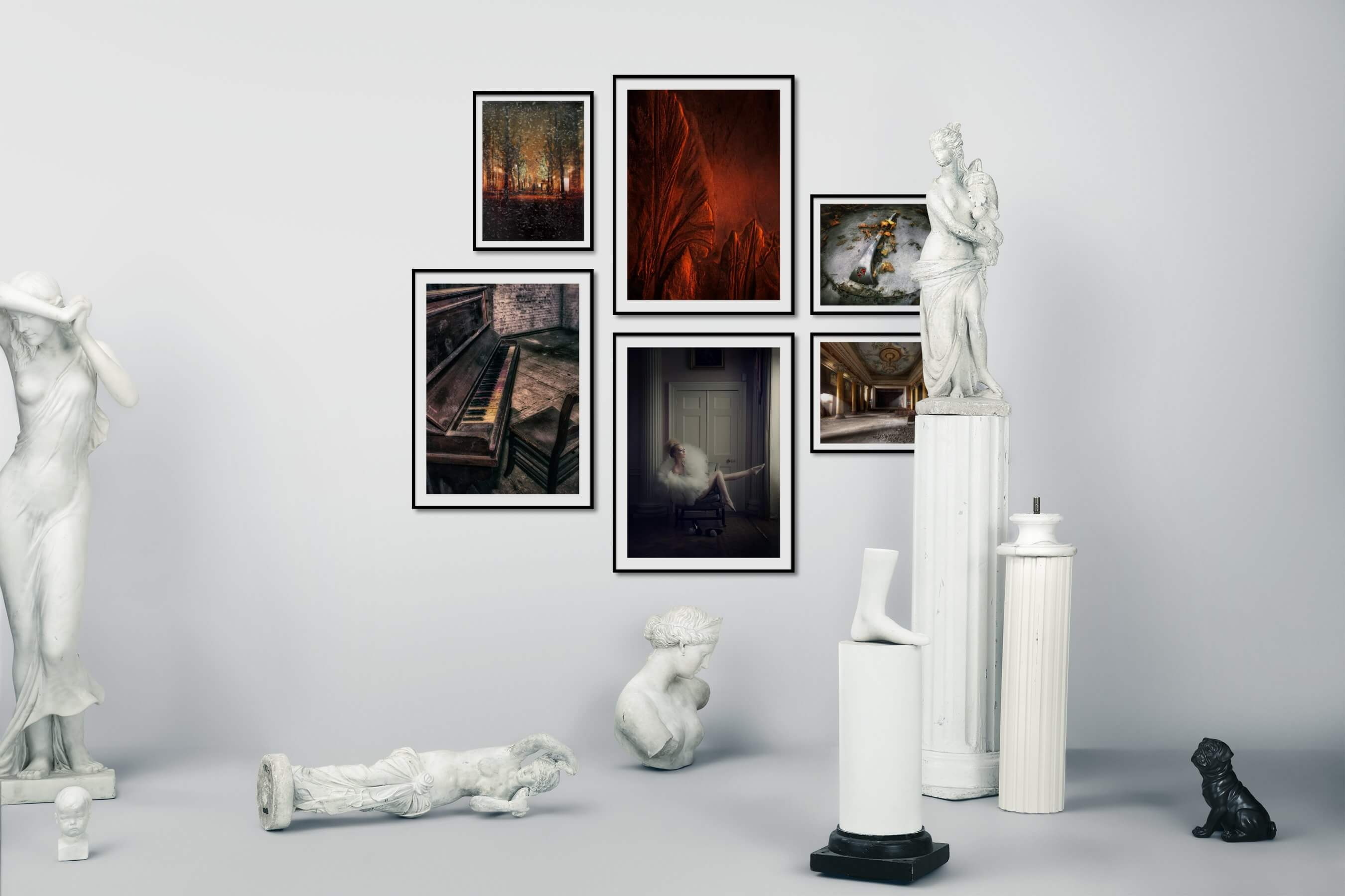 Gallery wall idea with six framed pictures arranged on a wall depicting For the Moderate, City Life, Nature, Vintage, and Fashion & Beauty