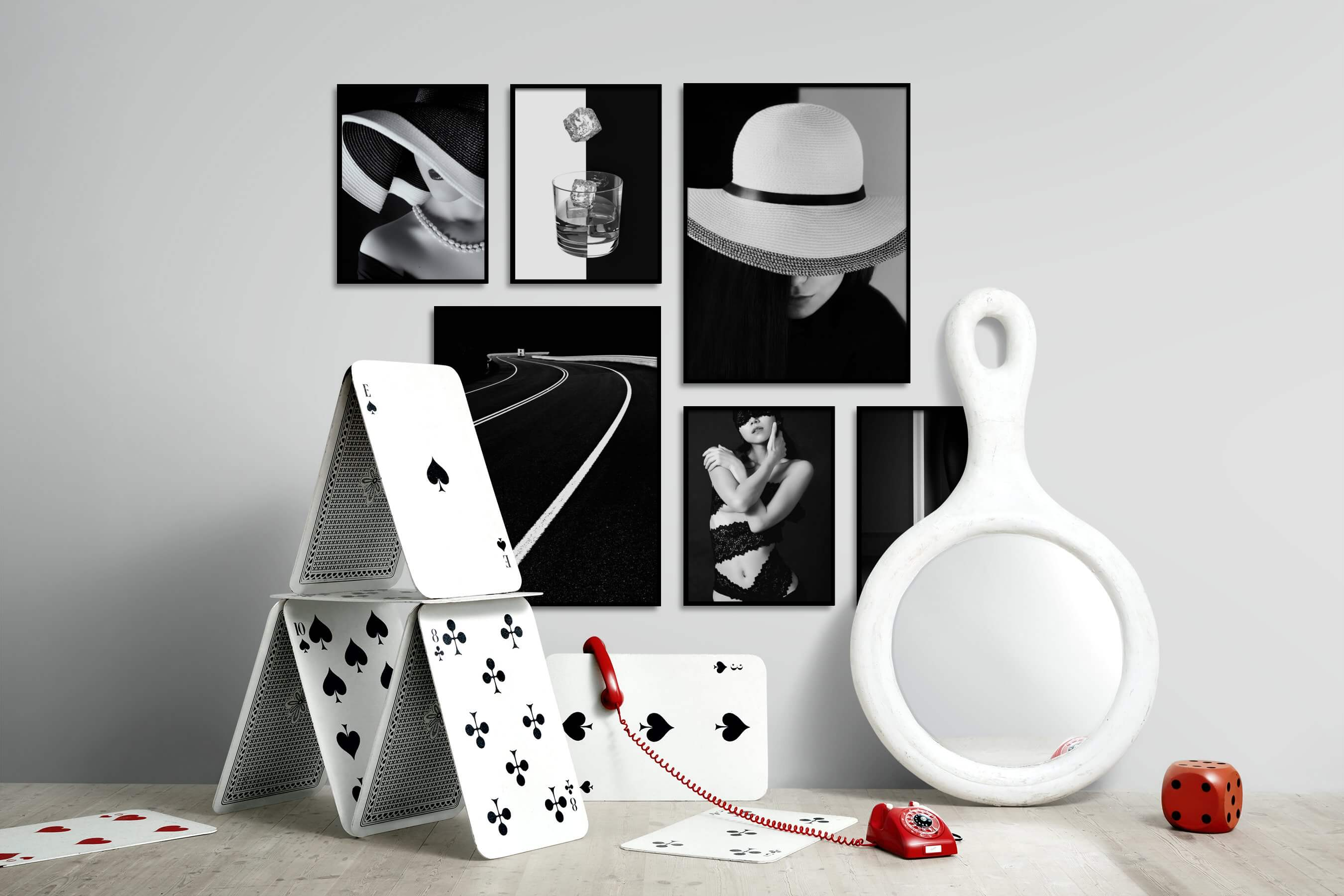 Gallery wall idea with six framed pictures arranged on a wall depicting Fashion & Beauty, Black & White, For the Moderate, Vintage, Dark Tones, and For the Minimalist