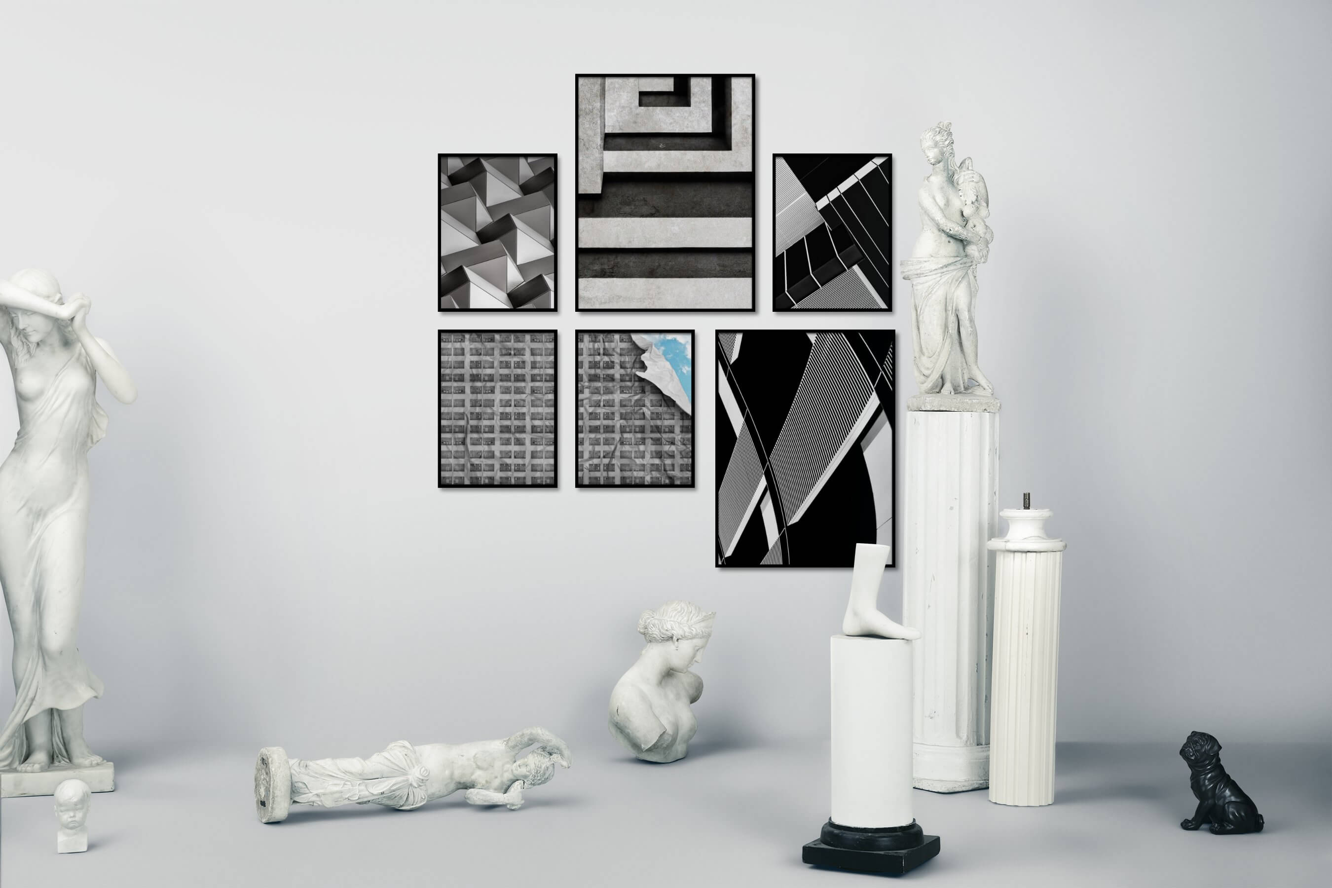 Gallery wall idea with six framed pictures arranged on a wall depicting Black & White, For the Maximalist, For the Moderate, City Life, and Artsy