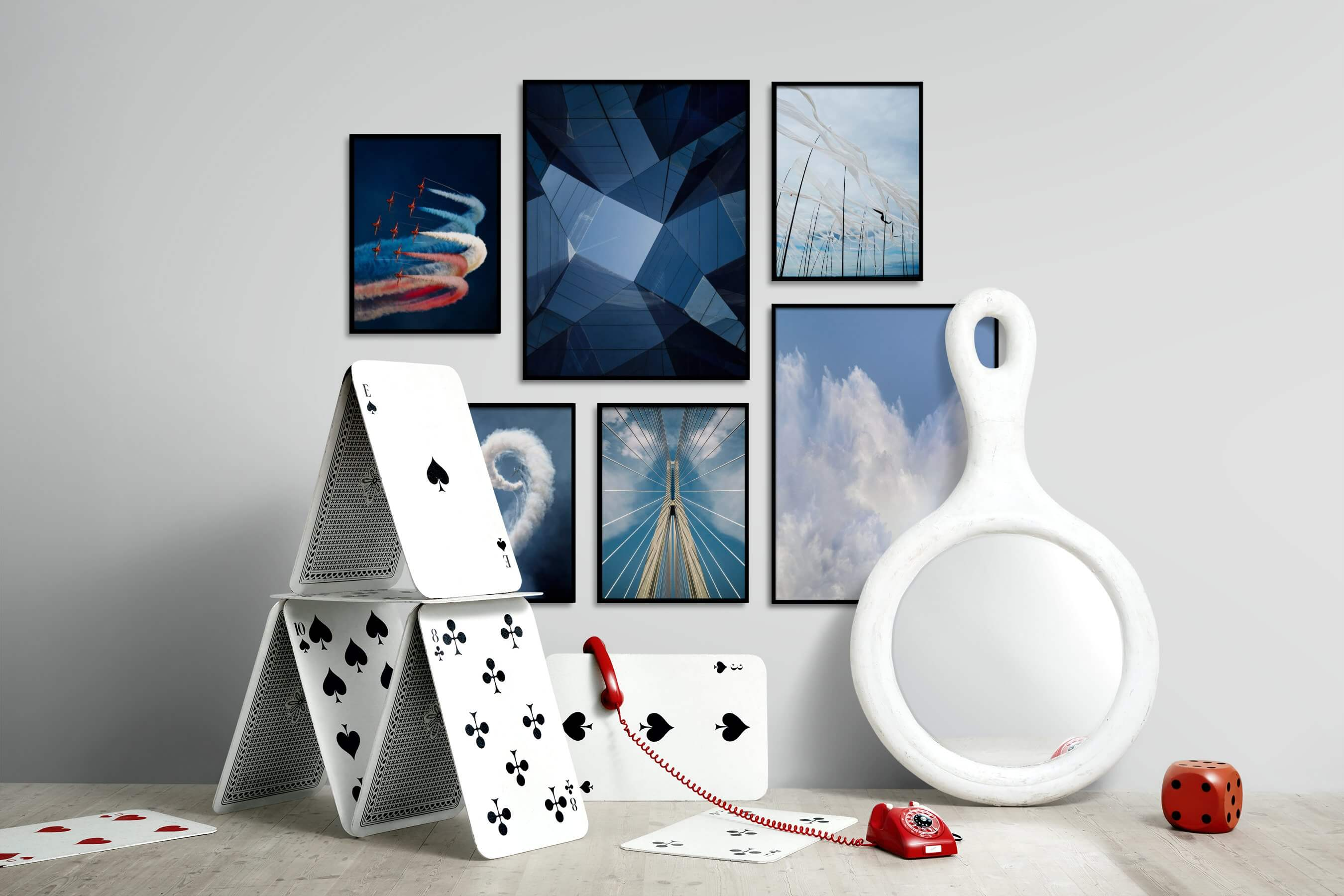 Gallery wall idea with six framed pictures arranged on a wall depicting For the Moderate, For the Maximalist, For the Minimalist, Beach & Water, and Mindfulness