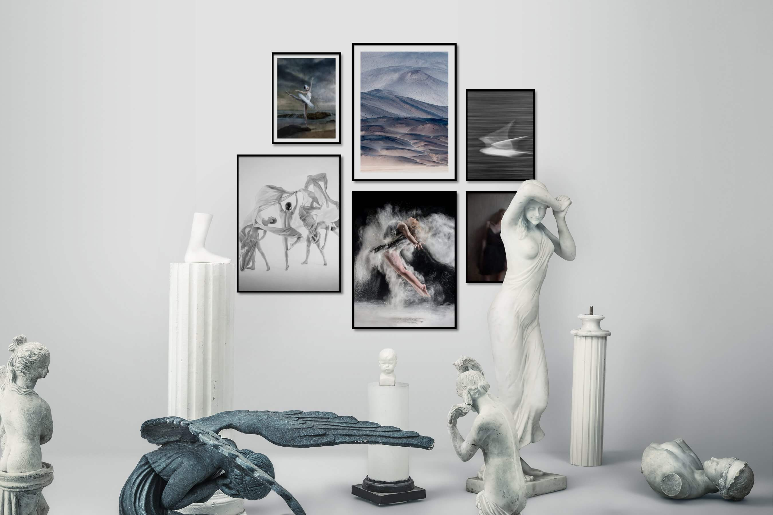 Gallery wall idea with six framed pictures arranged on a wall depicting Fashion & Beauty, Nature, Black & White, Dark Tones, For the Minimalist, and Animals