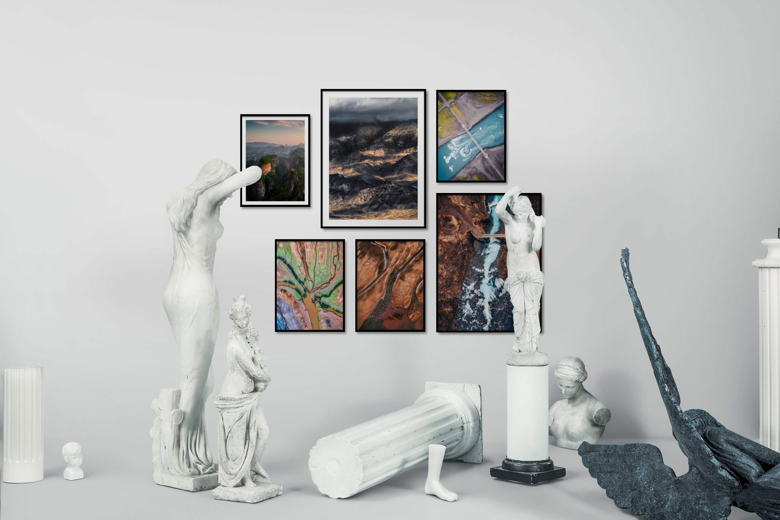 Gallery wall idea with six framed pictures arranged on a wall depicting Nature, Colorful, For the Maximalist, For the Moderate, and Country Life