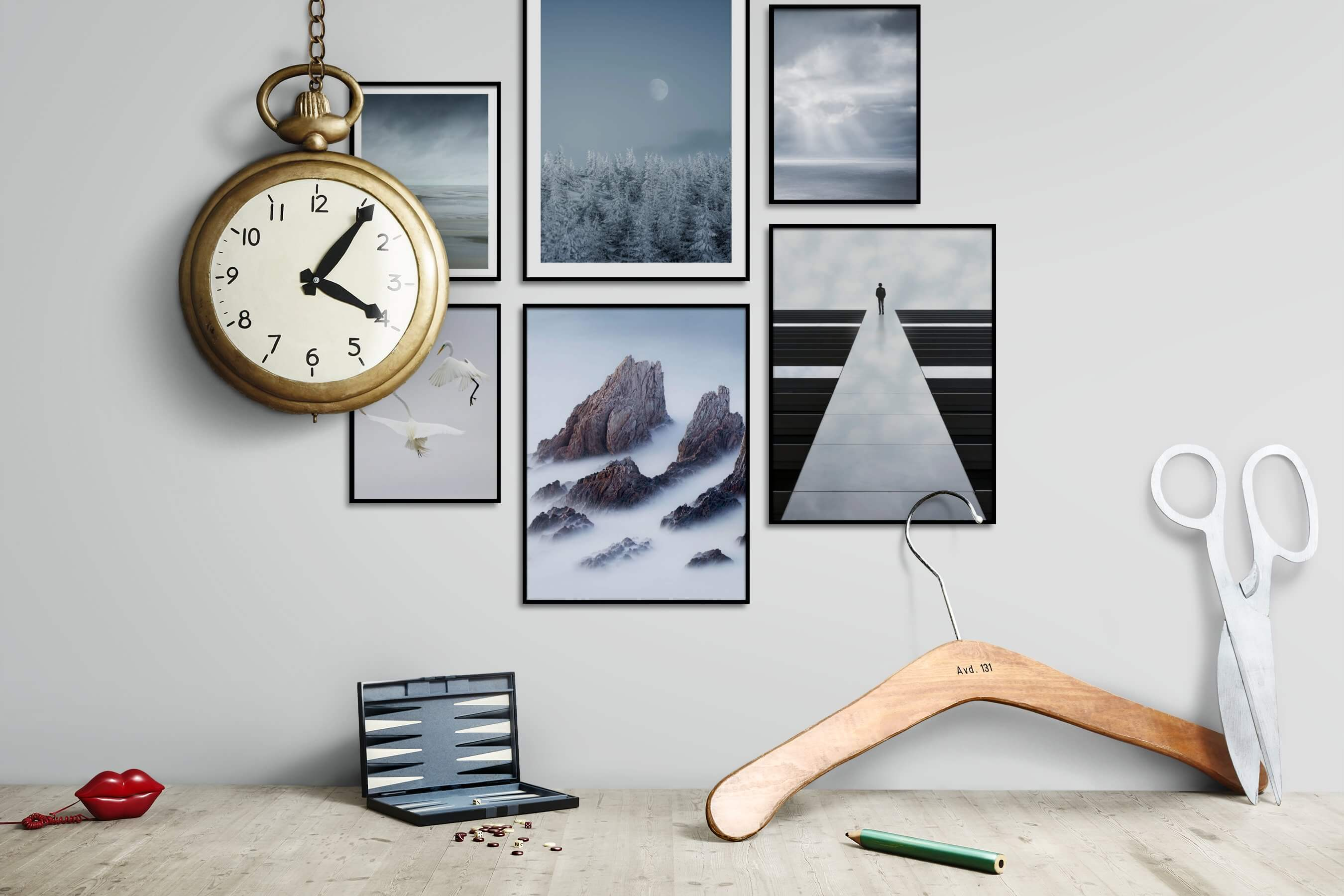 Gallery wall idea with six framed pictures arranged on a wall depicting For the Minimalist, Nature, Animals, For the Moderate, Mindfulness, and Beach & Water