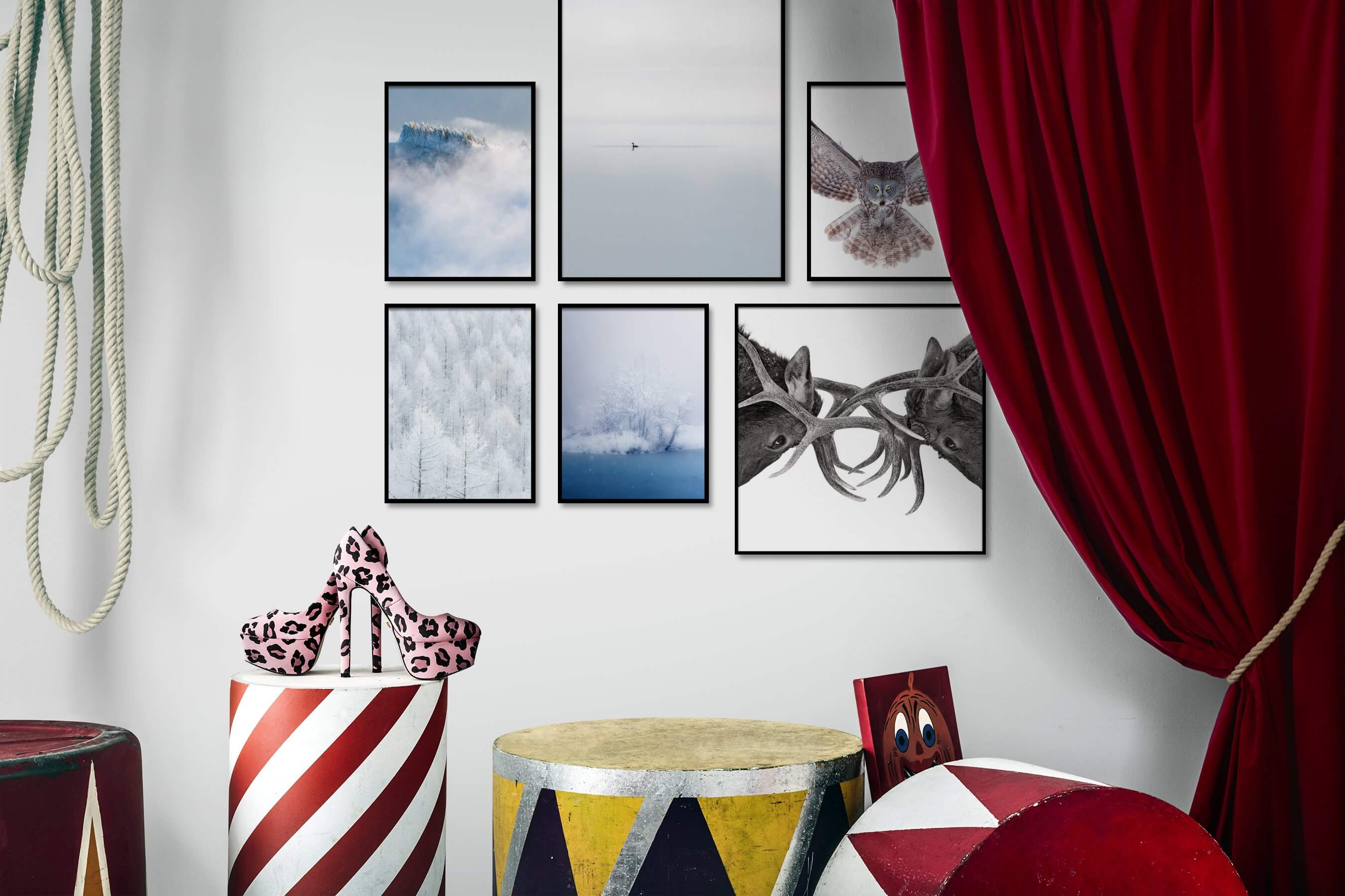 Gallery wall idea with six framed pictures arranged on a wall depicting Nature, Mindfulness, For the Minimalist, Animals, Beach & Water, For the Moderate, and Bright Tones