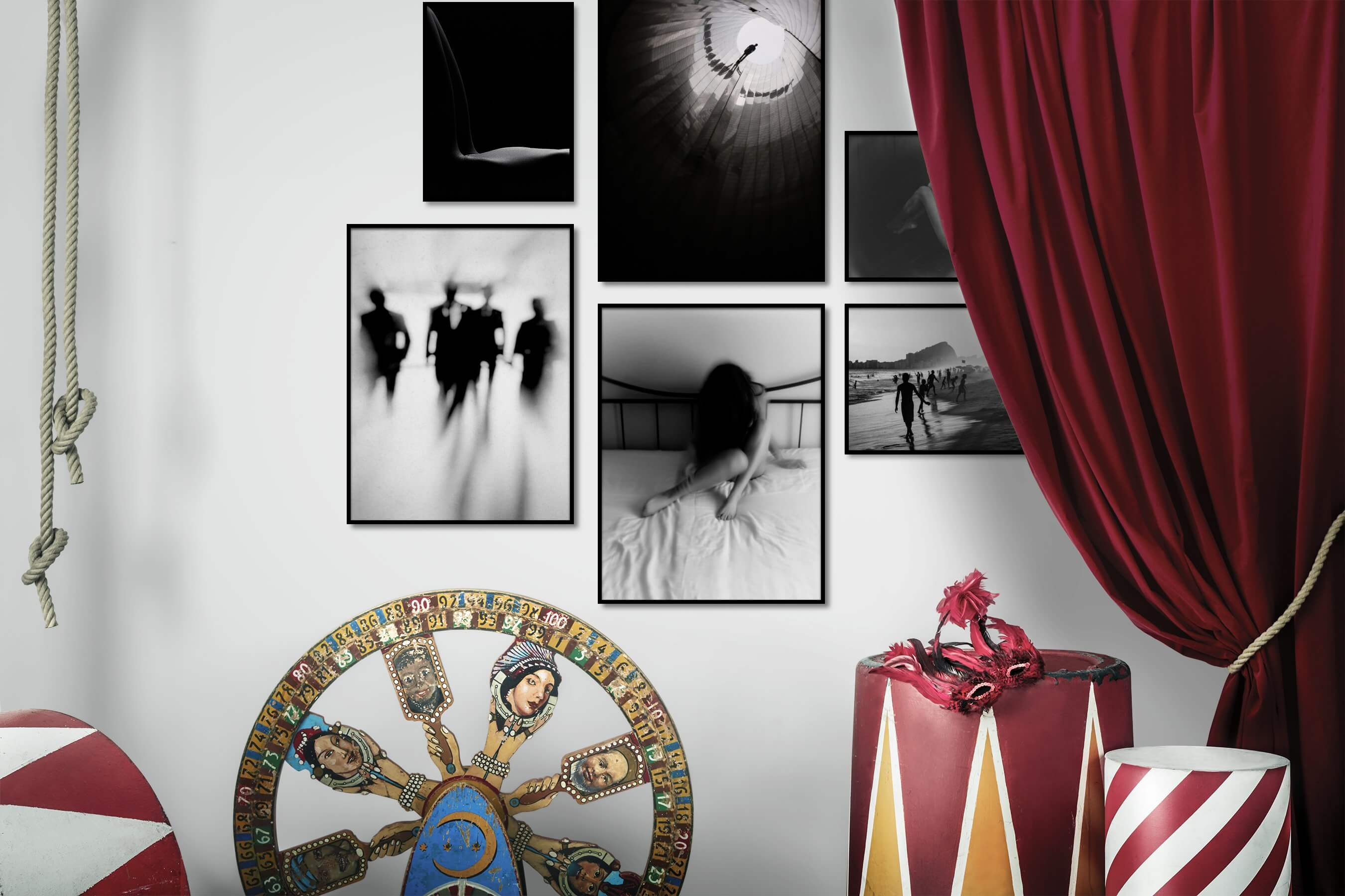 Gallery wall idea with six framed pictures arranged on a wall depicting Fashion & Beauty, Black & White, For the Minimalist, Artsy, and Beach & Water