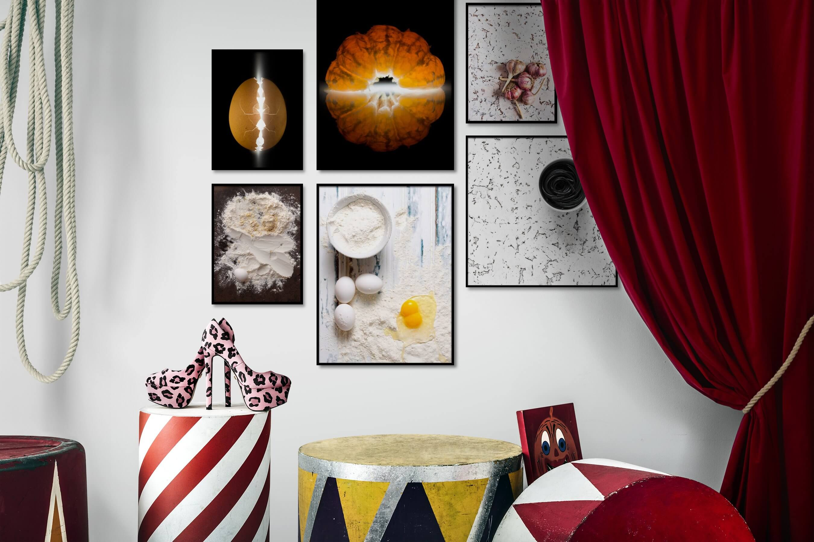 Gallery wall idea with six framed pictures arranged on a wall depicting Dark Tones, For the Minimalist, and For the Moderate