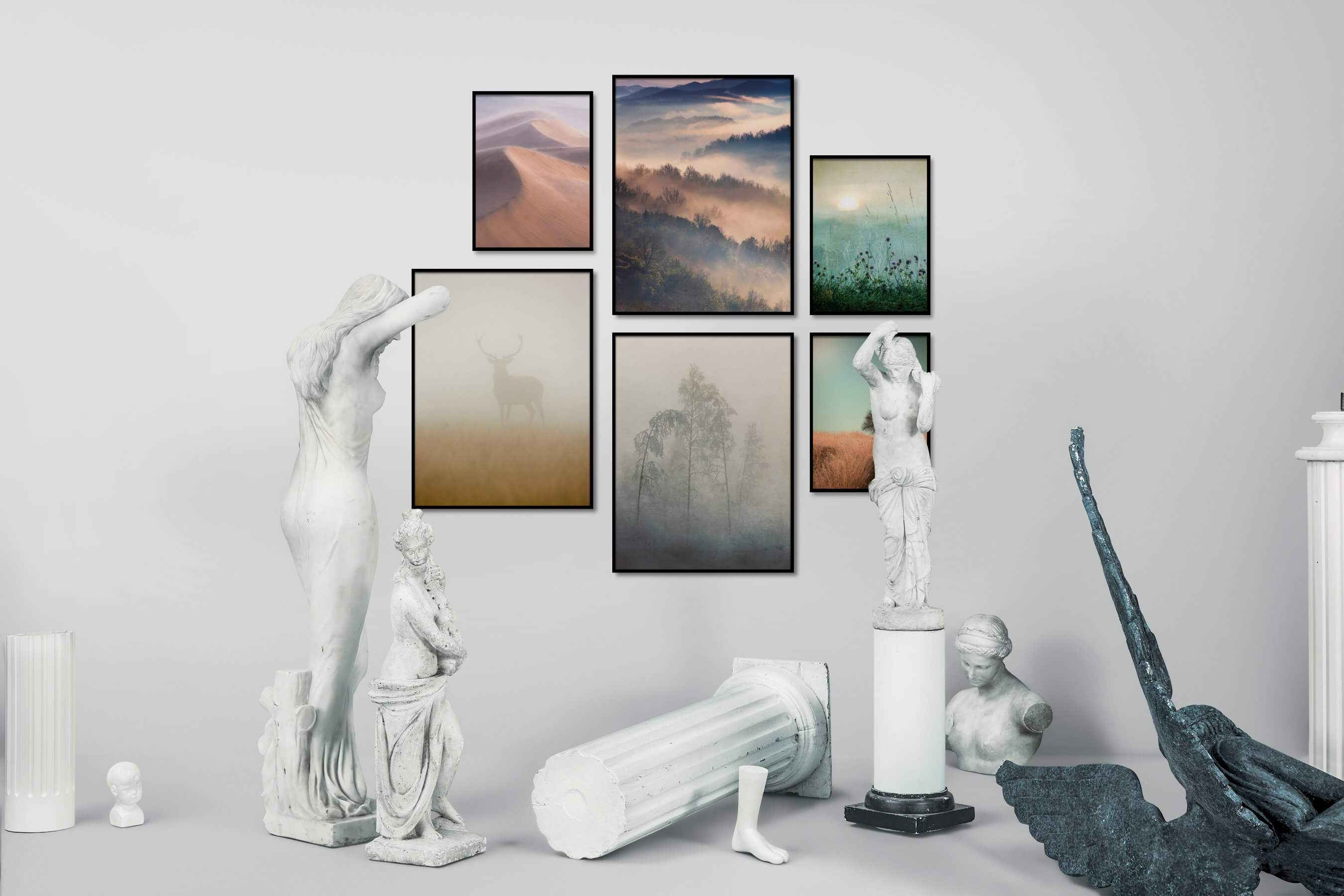 Gallery wall idea with six framed pictures arranged on a wall depicting For the Moderate, Nature, Mindfulness, For the Minimalist, Animals, Flowers & Plants, Vintage, and Country Life