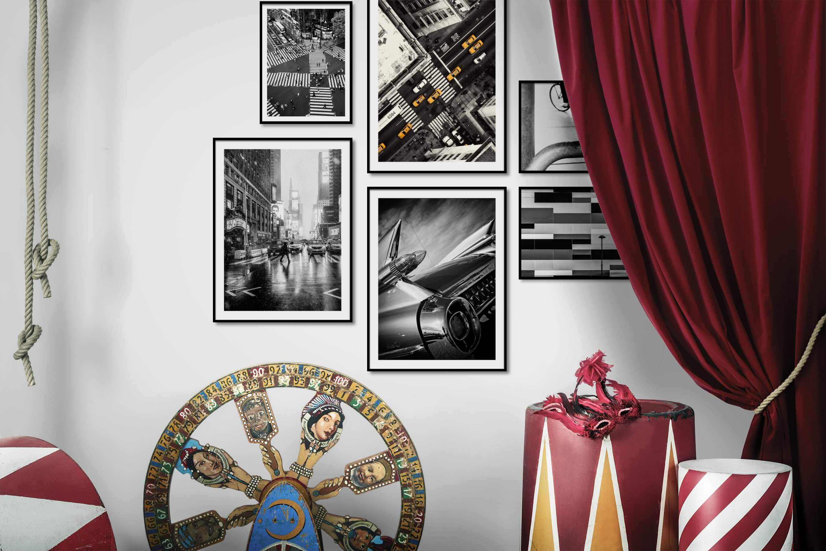 Gallery wall idea with six framed pictures arranged on a wall depicting Black & White, City Life, Americana, Vintage, and For the Moderate