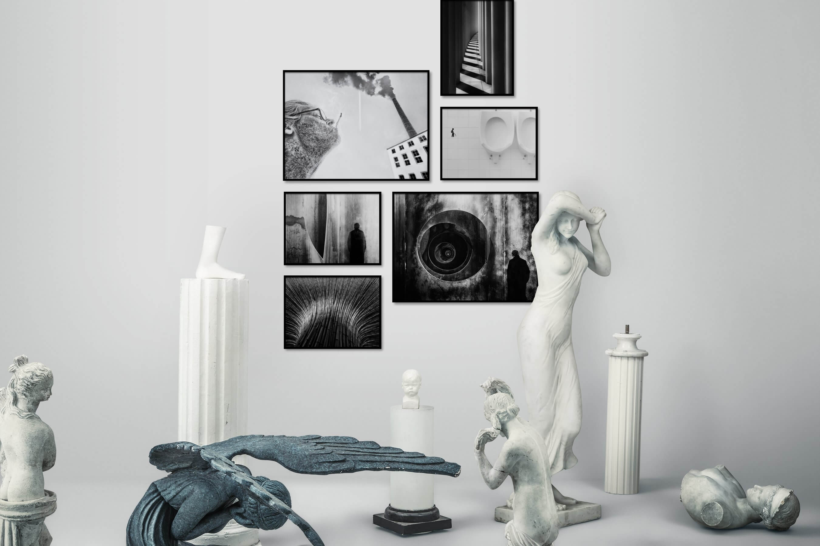 Gallery wall idea with six framed pictures arranged on a wall depicting Artsy, Black & White, For the Minimalist, For the Maximalist, Nature, and For the Moderate