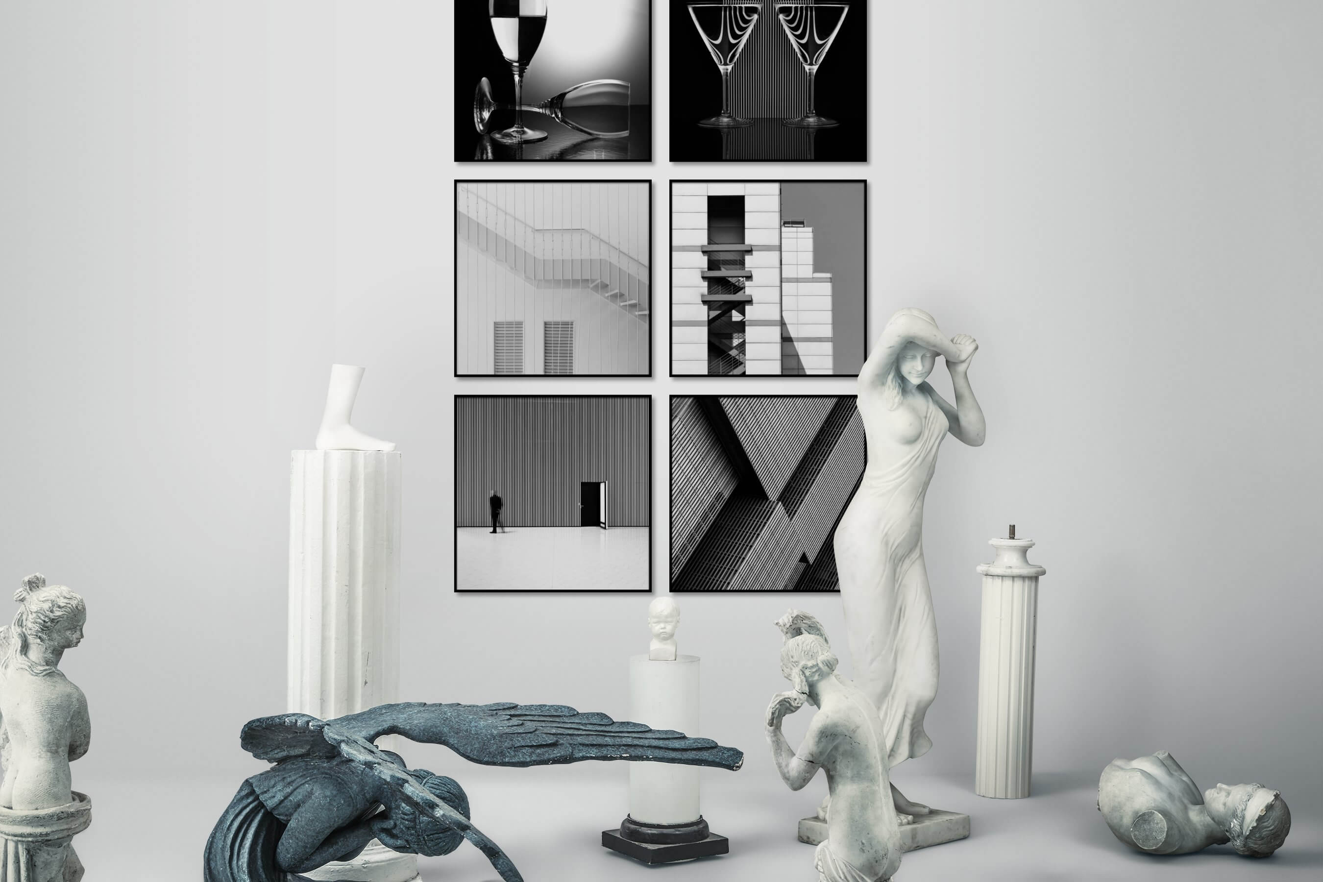 Gallery wall idea with six framed pictures arranged on a wall depicting Black & White, For the Moderate, City Life, Artsy, For the Minimalist, and For the Maximalist