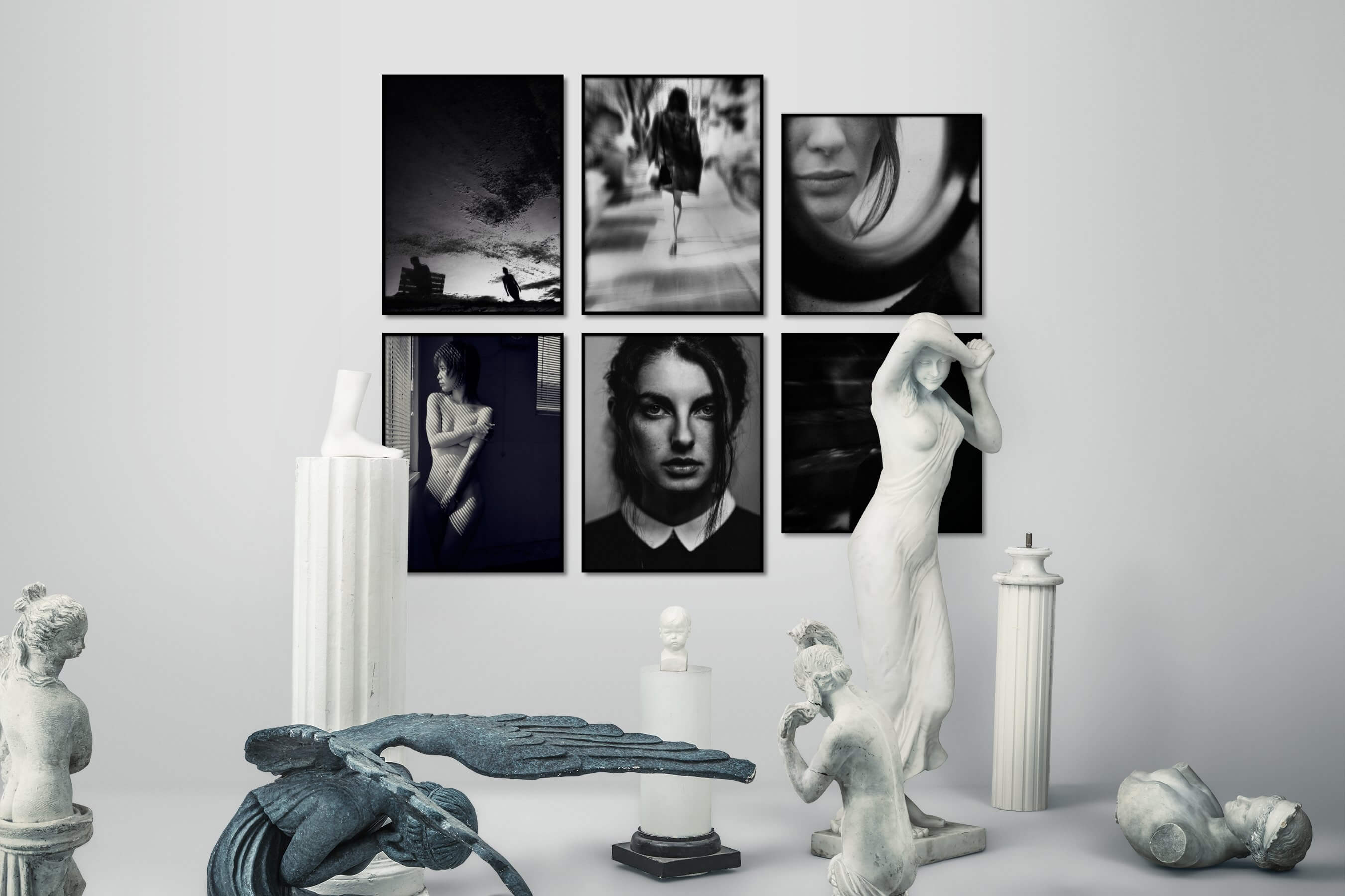 Gallery wall idea with six framed pictures arranged on a wall depicting Black & White, For the Minimalist, Fashion & Beauty, and Dark Tones