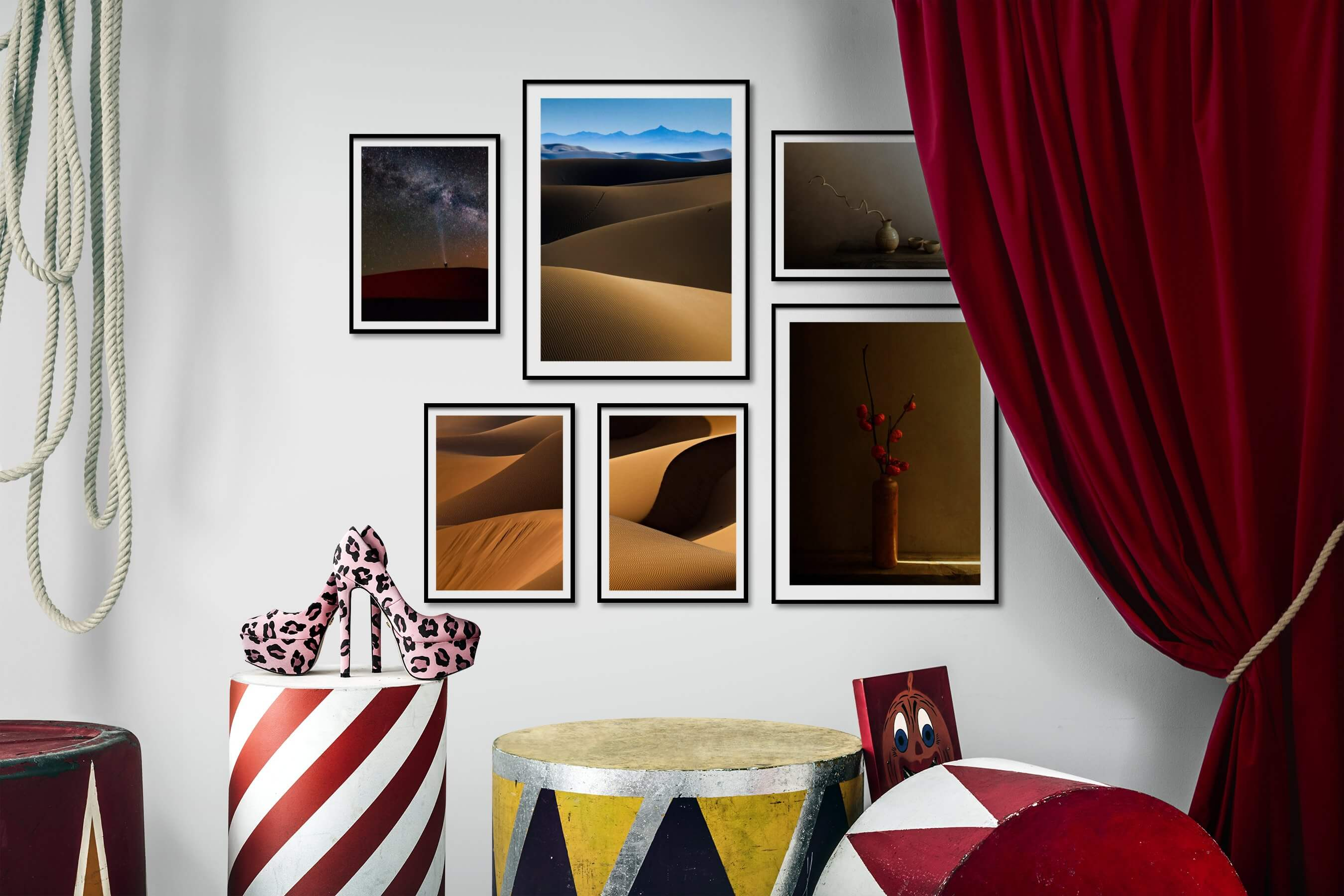 Gallery wall idea with six framed pictures arranged on a wall depicting For the Minimalist, Nature, For the Moderate, Flowers & Plants, and Vintage