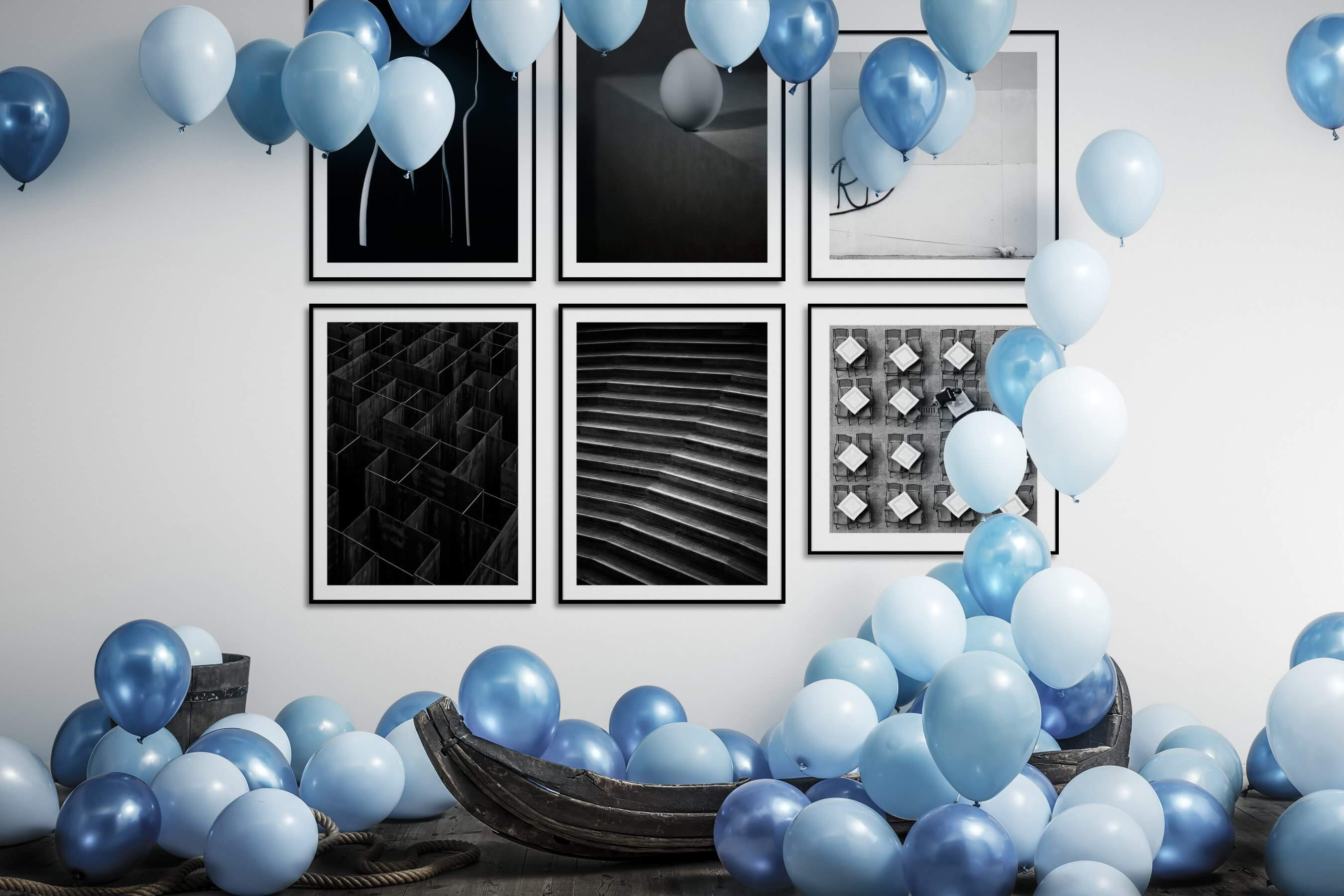 Gallery wall idea with six framed pictures arranged on a wall depicting Dark Tones, For the Minimalist, Black & White, For the Maximalist, For the Moderate, Animals, and City Life