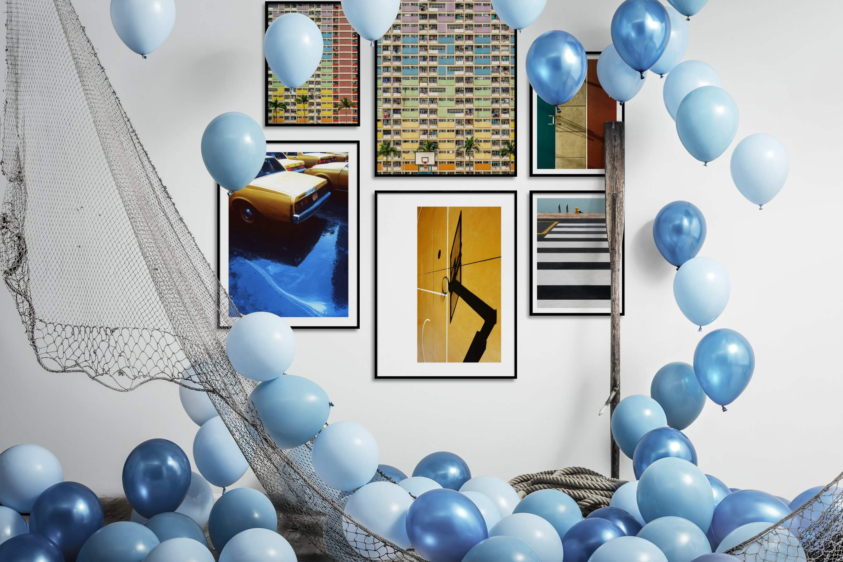 Gallery wall idea with six framed pictures arranged on a wall depicting For the Maximalist, City Life, Vintage, Americana, For the Moderate, and Beach & Water