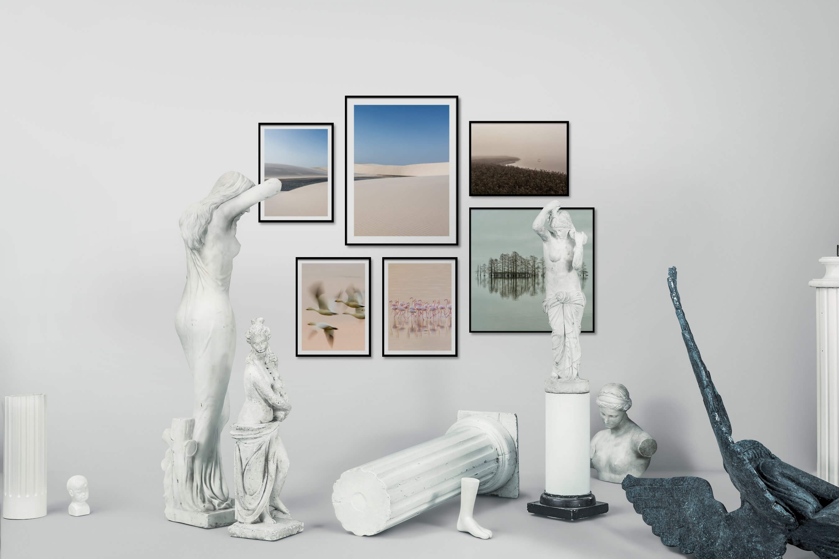 Gallery wall idea with six framed pictures arranged on a wall depicting For the Minimalist, Nature, Animals, Mindfulness, and Beach & Water