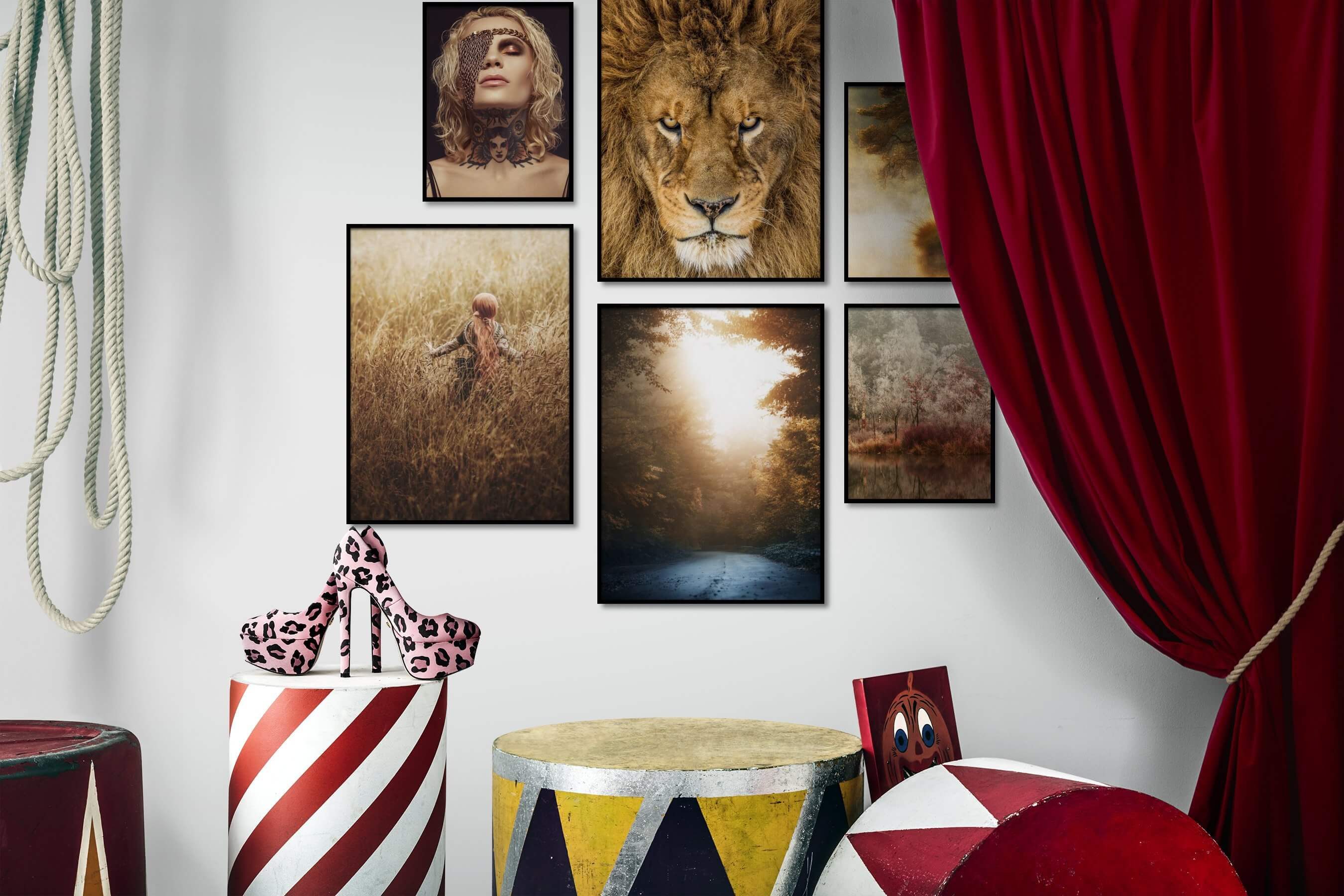 Gallery wall idea with six framed pictures arranged on a wall depicting Fashion & Beauty, Animals, Country Life, Mindfulness, and Nature