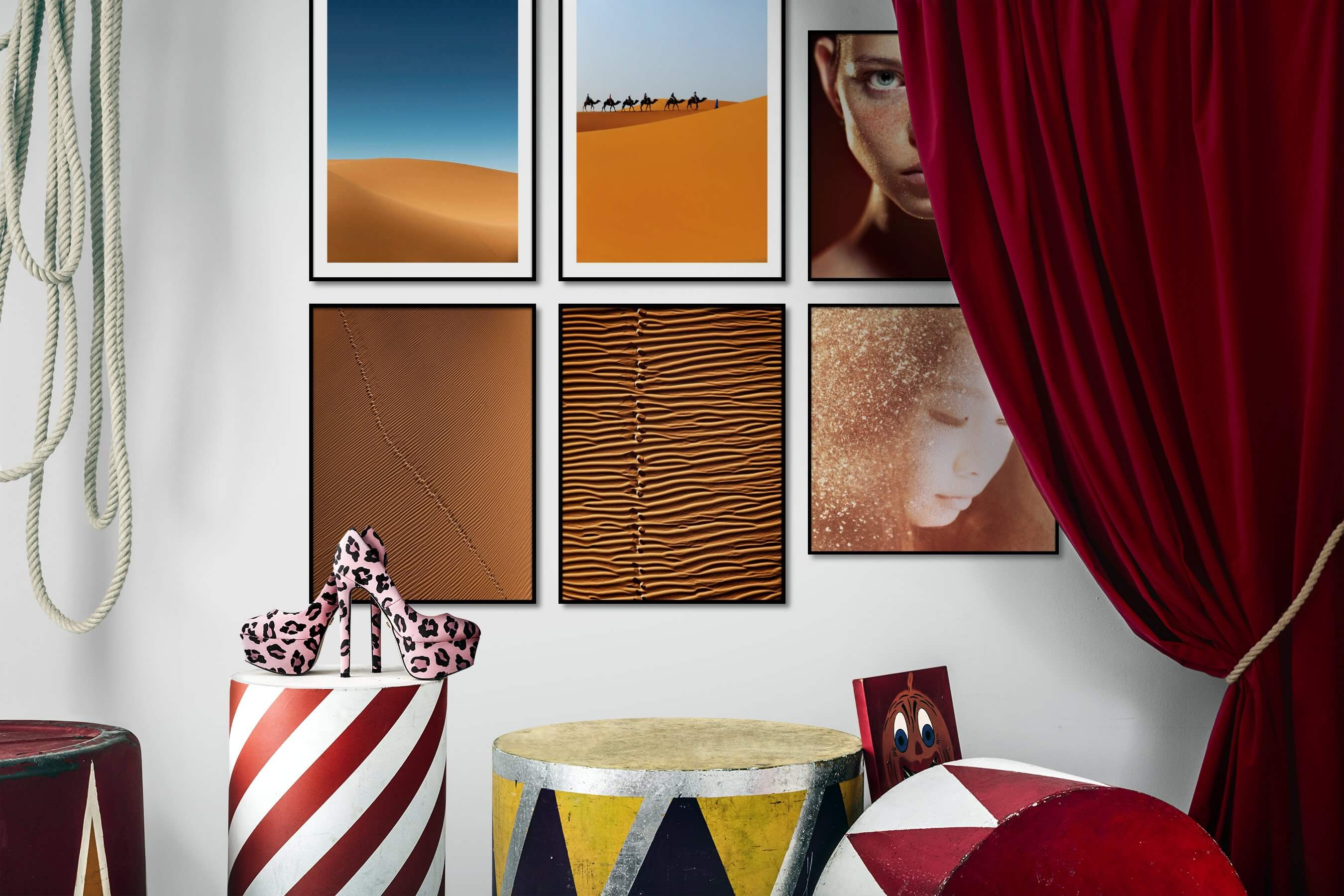 Gallery wall idea with six framed pictures arranged on a wall depicting For the Minimalist, Nature, Animals, For the Moderate, and Fashion & Beauty