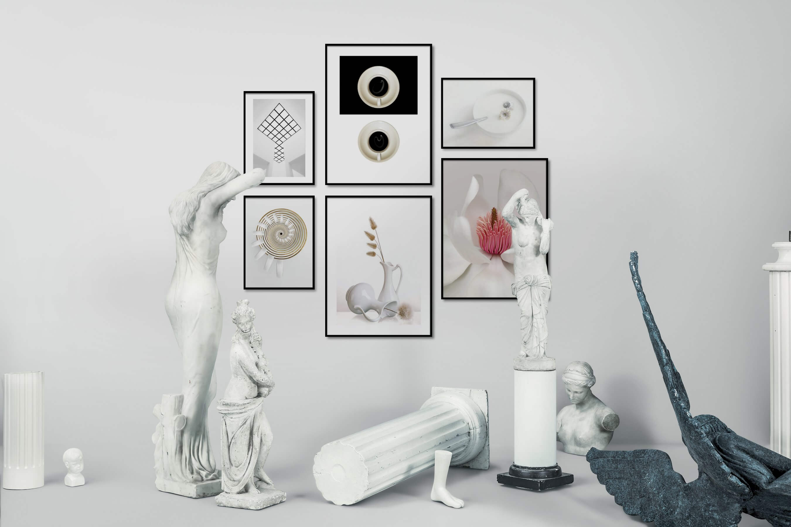 Gallery wall idea with six framed pictures arranged on a wall depicting Black & White, For the Minimalist, Bright Tones, Flowers & Plants, For the Moderate, and Mindfulness
