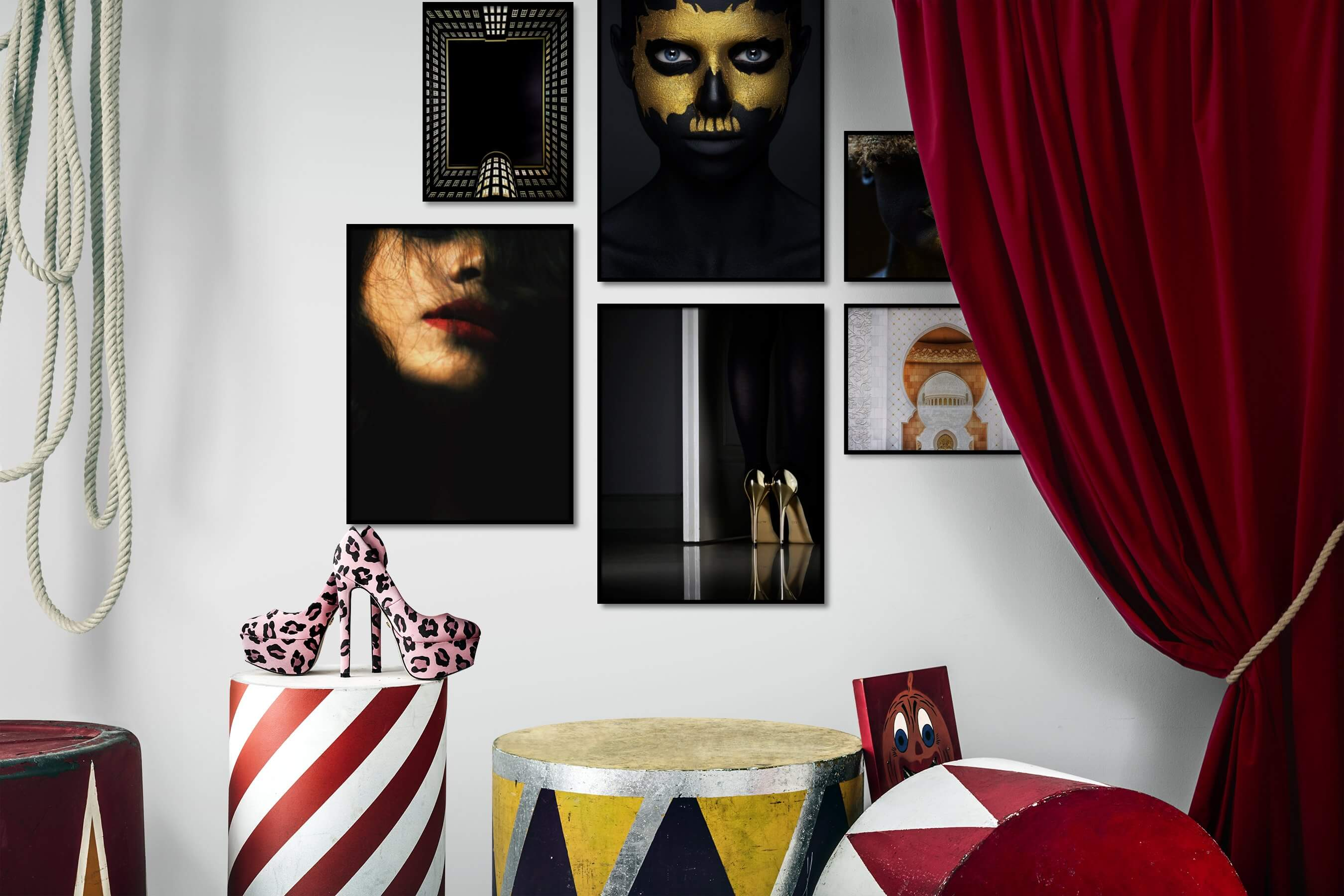 Gallery wall idea with six framed pictures arranged on a wall depicting Dark Tones, For the Moderate, Artsy, Colorful, Fashion & Beauty, and For the Minimalist