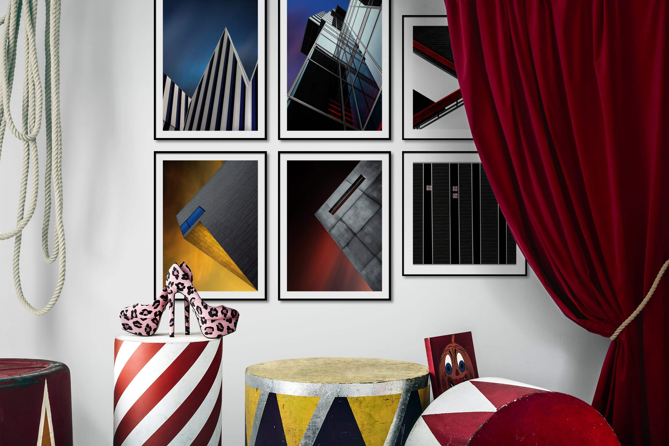 Gallery wall idea with six framed pictures arranged on a wall depicting For the Minimalist, For the Maximalist, and For the Moderate