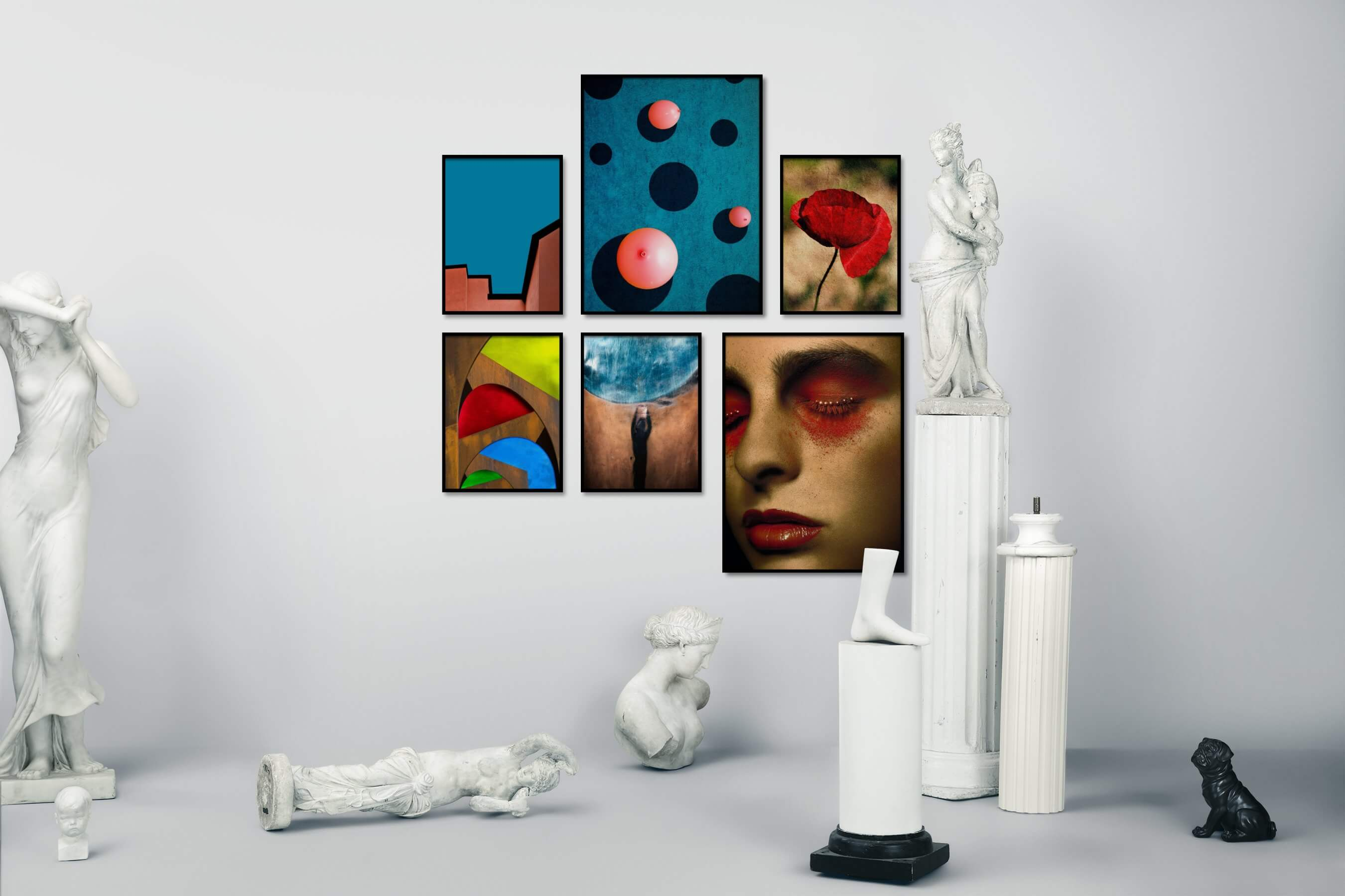 Gallery wall idea with six framed pictures arranged on a wall depicting For the Minimalist, Colorful, For the Maximalist, Artsy, For the Moderate, Fashion & Beauty, Flowers & Plants, and Vintage