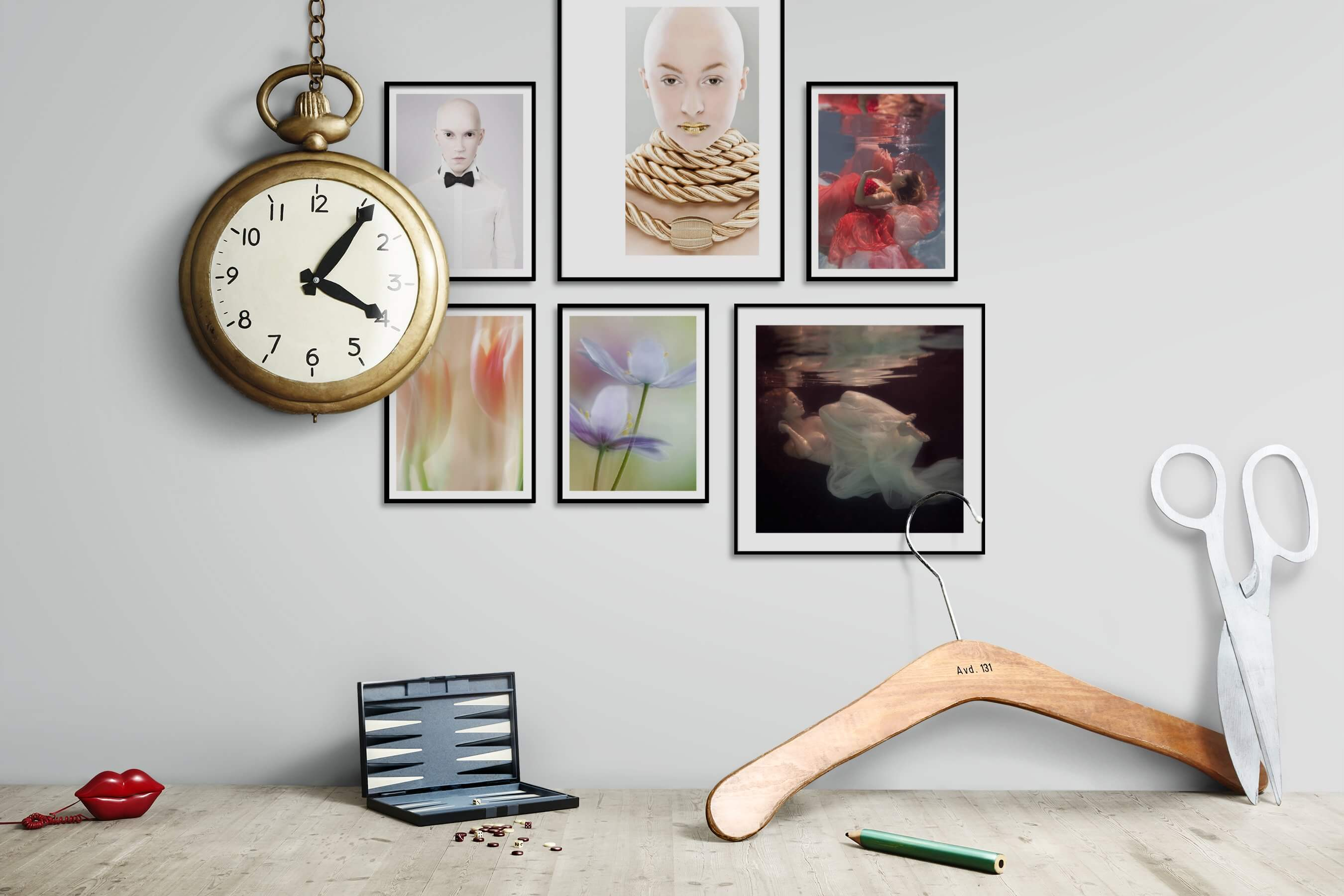 Gallery wall idea with six framed pictures arranged on a wall depicting Fashion & Beauty, For the Moderate, Flowers & Plants, and Beach & Water