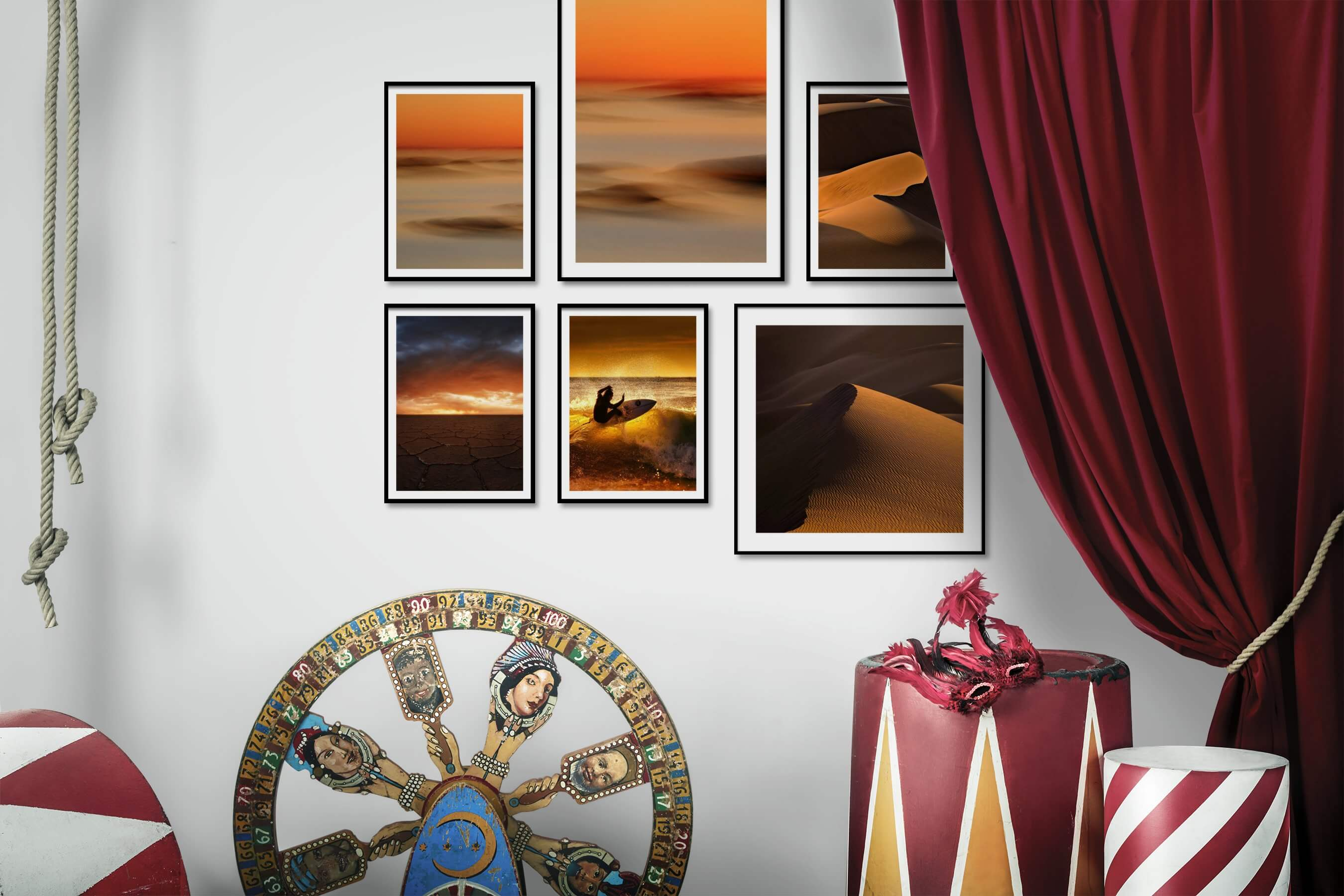 Gallery wall idea with six framed pictures arranged on a wall depicting For the Moderate, Nature, and Beach & Water