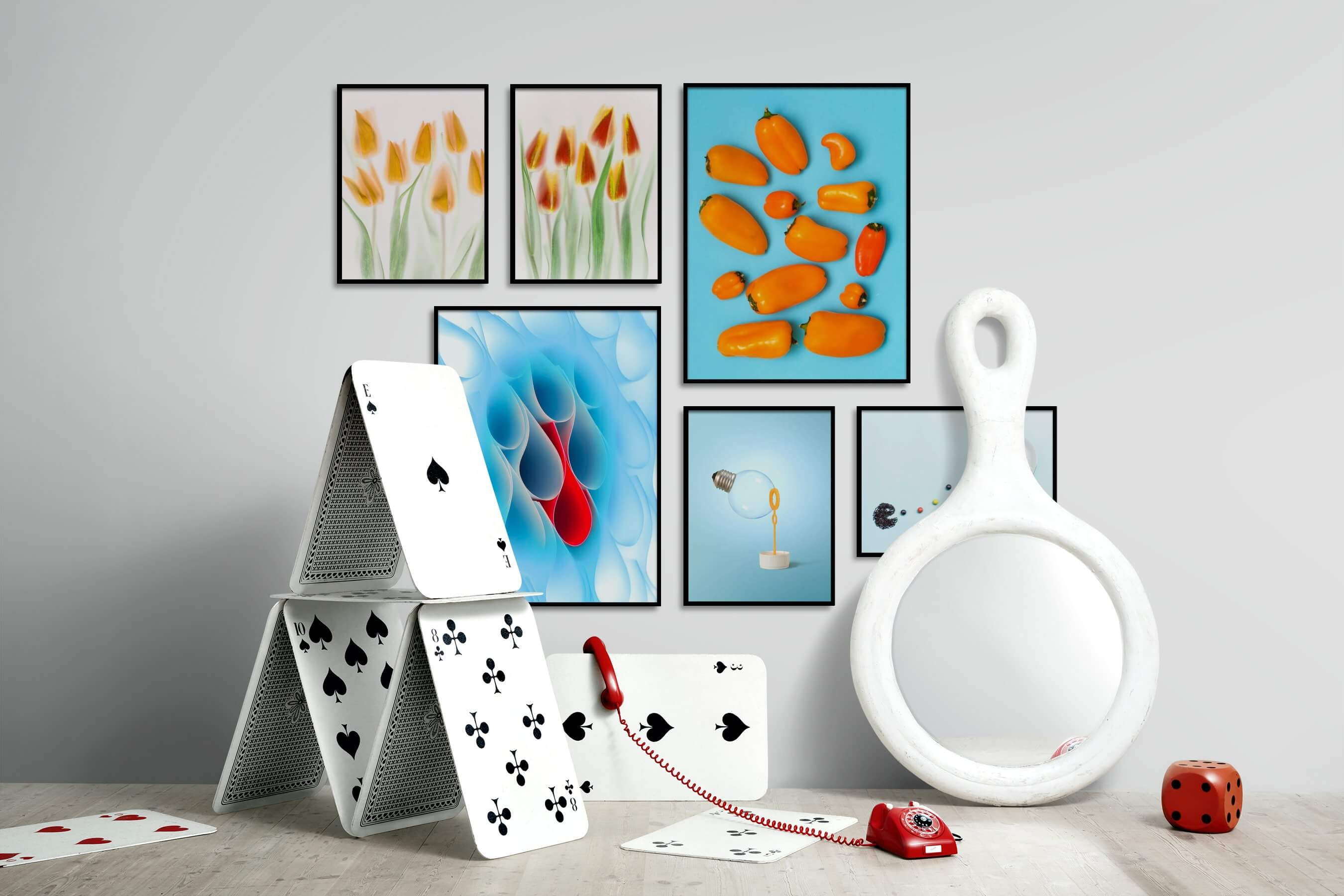 Gallery wall idea with six framed pictures arranged on a wall depicting Bright Tones, For the Moderate, Flowers & Plants, Colorful, and For the Minimalist