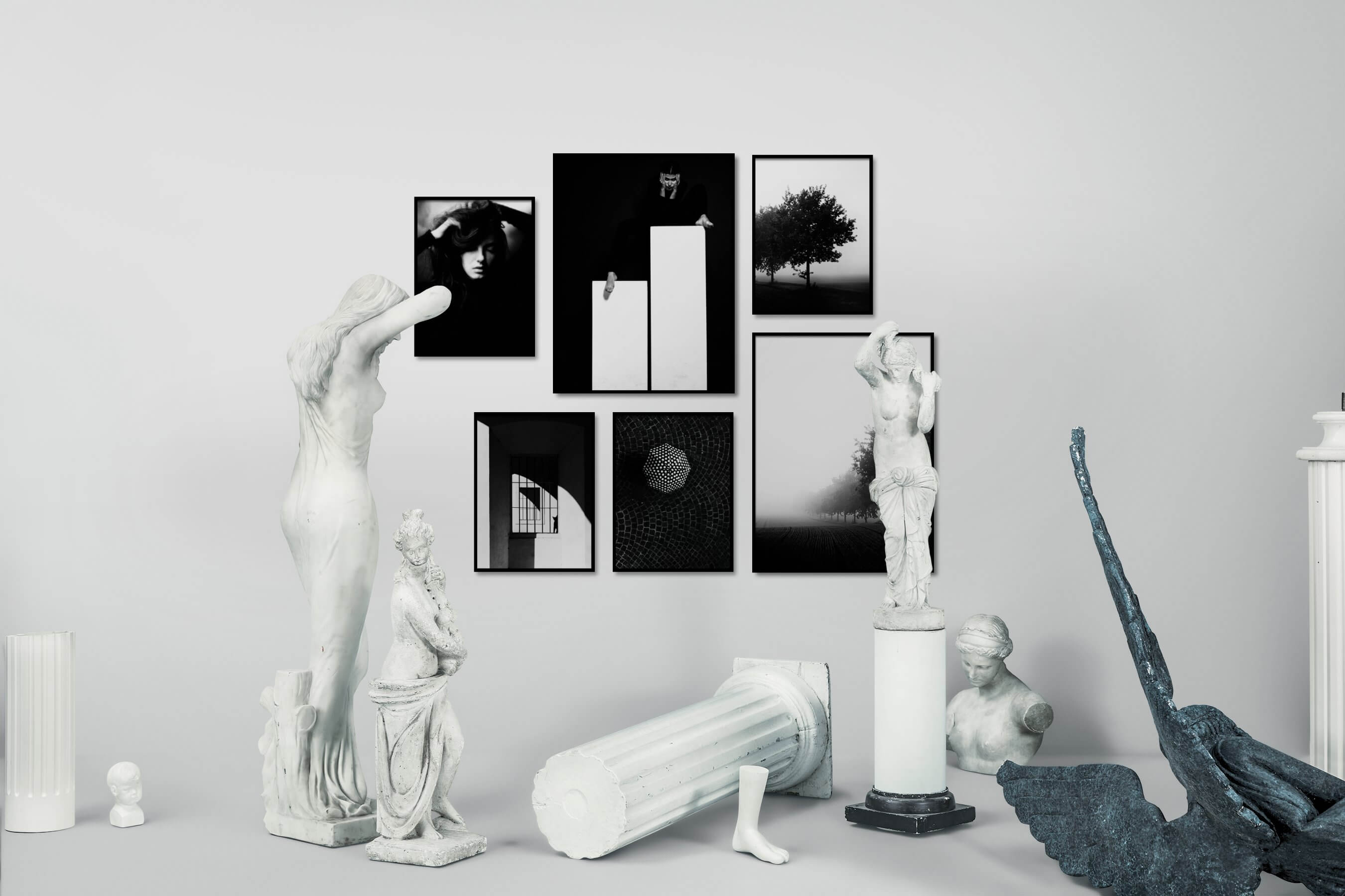 Gallery wall idea with six framed pictures arranged on a wall depicting Fashion & Beauty, Black & White, Dark Tones, For the Minimalist, Animals, City Life, and Country Life