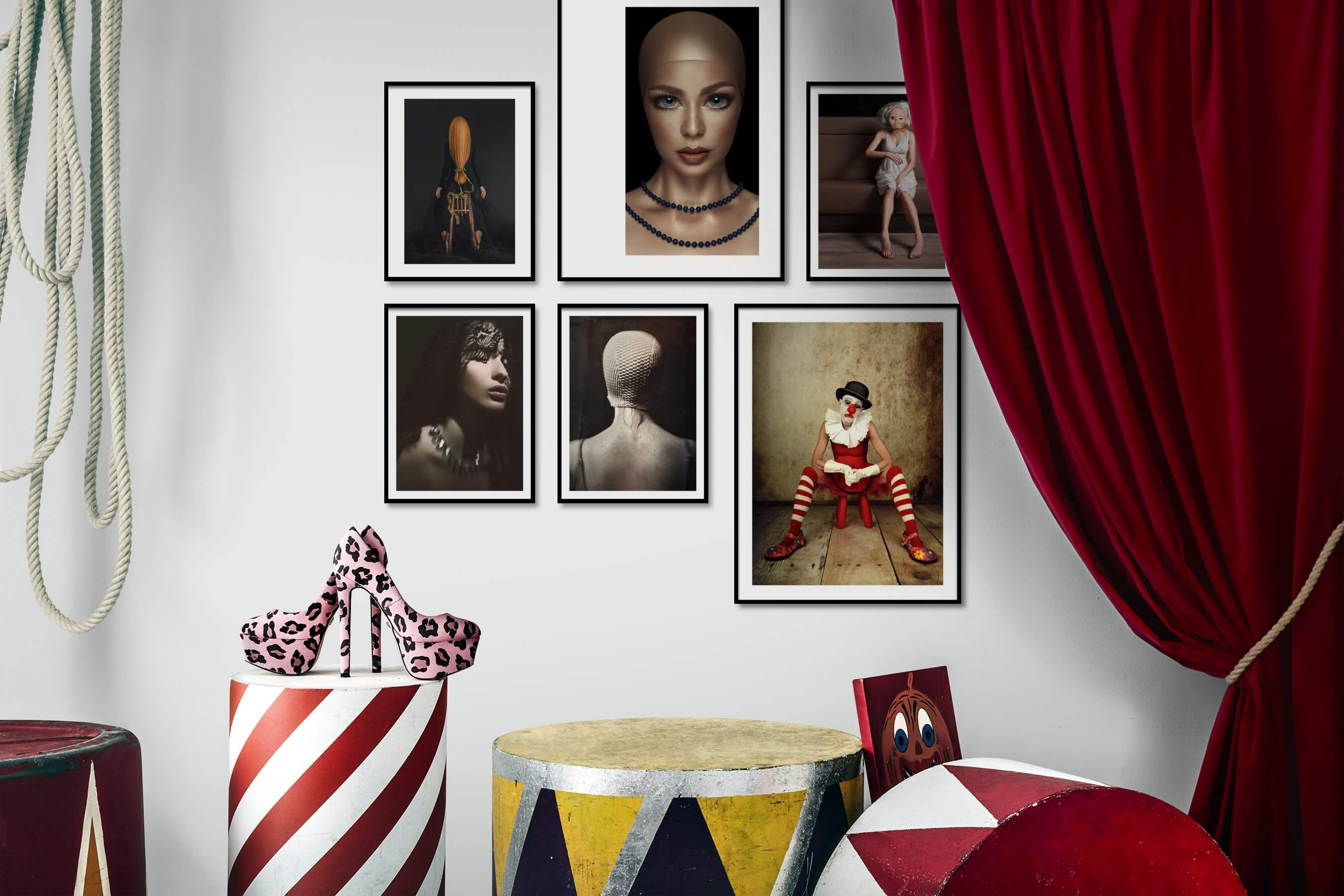 Gallery wall idea with six framed pictures arranged on a wall depicting Artsy, For the Minimalist, Fashion & Beauty, Dark Tones, and Vintage