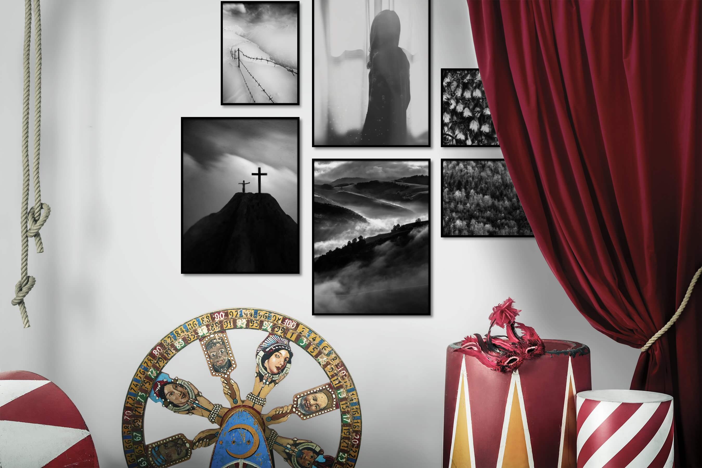 Gallery wall idea with six framed pictures arranged on a wall depicting Black & White, Nature, Artsy, Country Life, For the Moderate, and Animals