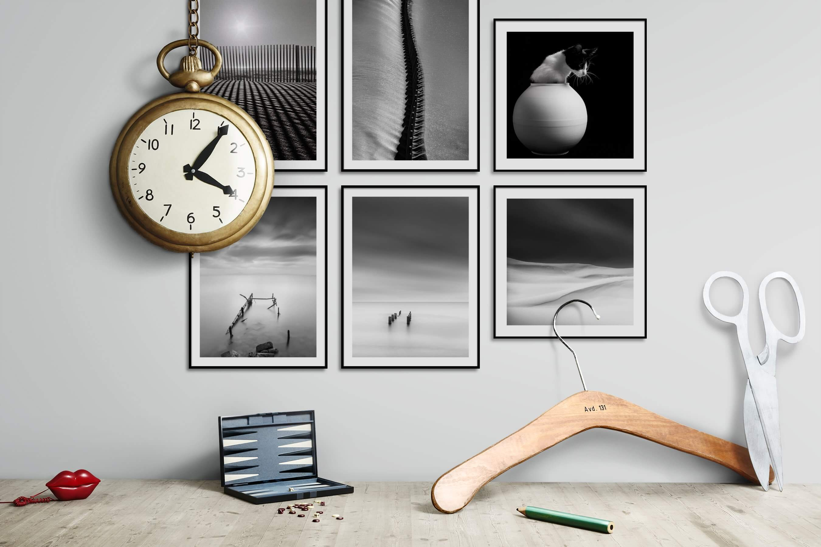 Gallery wall idea with six framed pictures arranged on a wall depicting Black & White, For the Moderate, For the Minimalist, Nature, Beach & Water, Mindfulness, and Animals