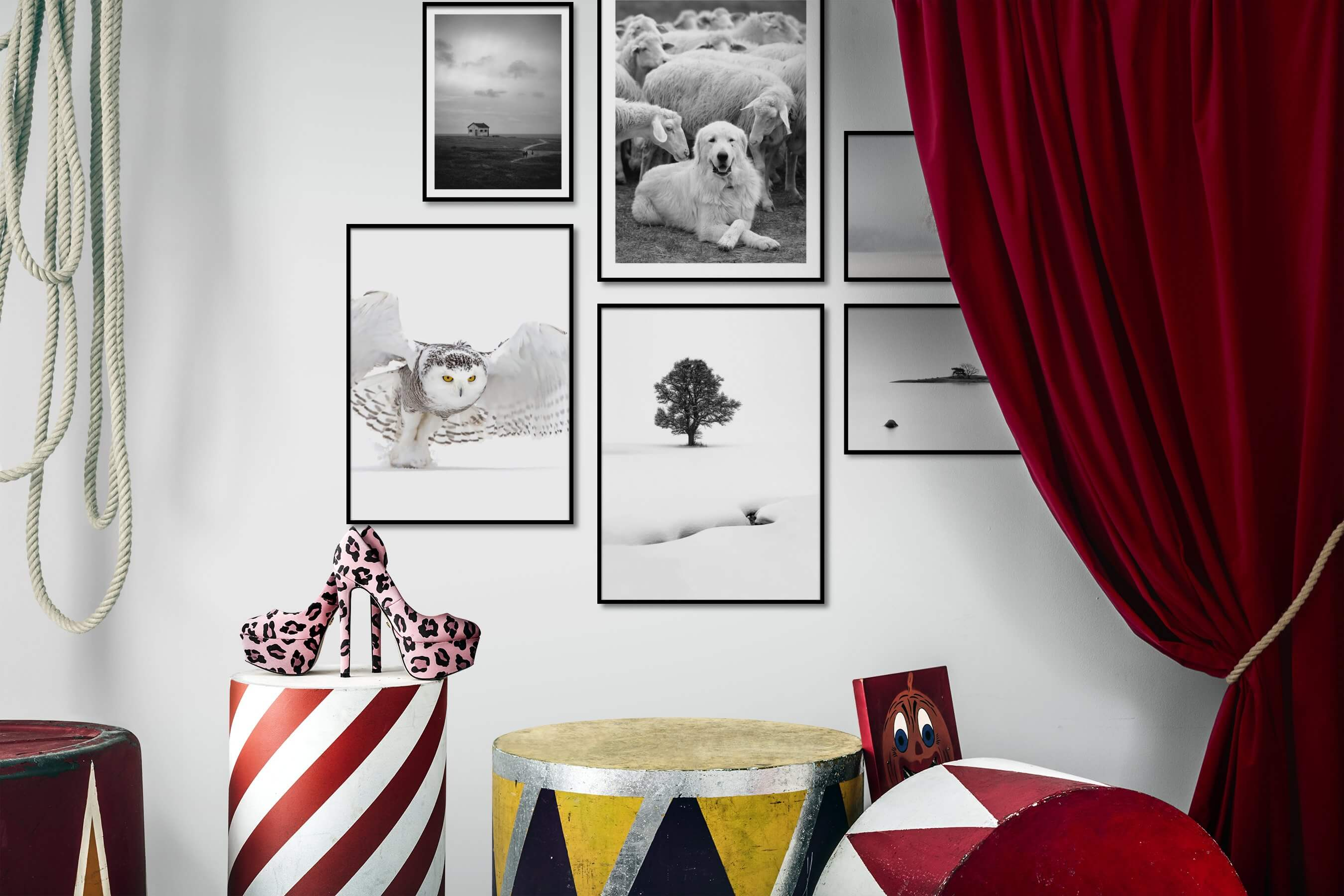 Gallery wall idea with six framed pictures arranged on a wall depicting Black & White, Country Life, Animals, Bright Tones, For the Minimalist, Nature, Beach & Water, and Mindfulness