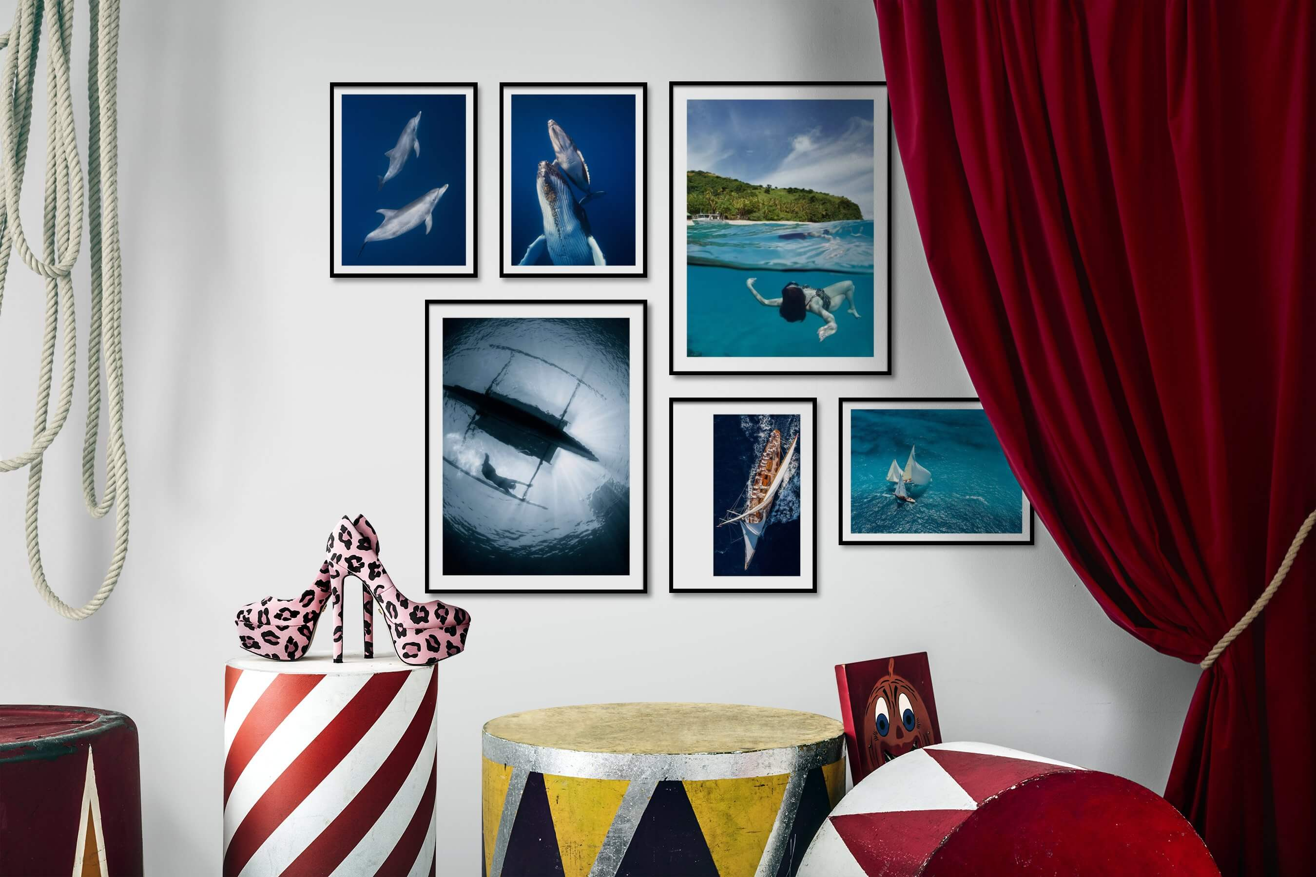 Gallery wall idea with six framed pictures arranged on a wall depicting For the Minimalist, Animals, Beach & Water, and For the Moderate