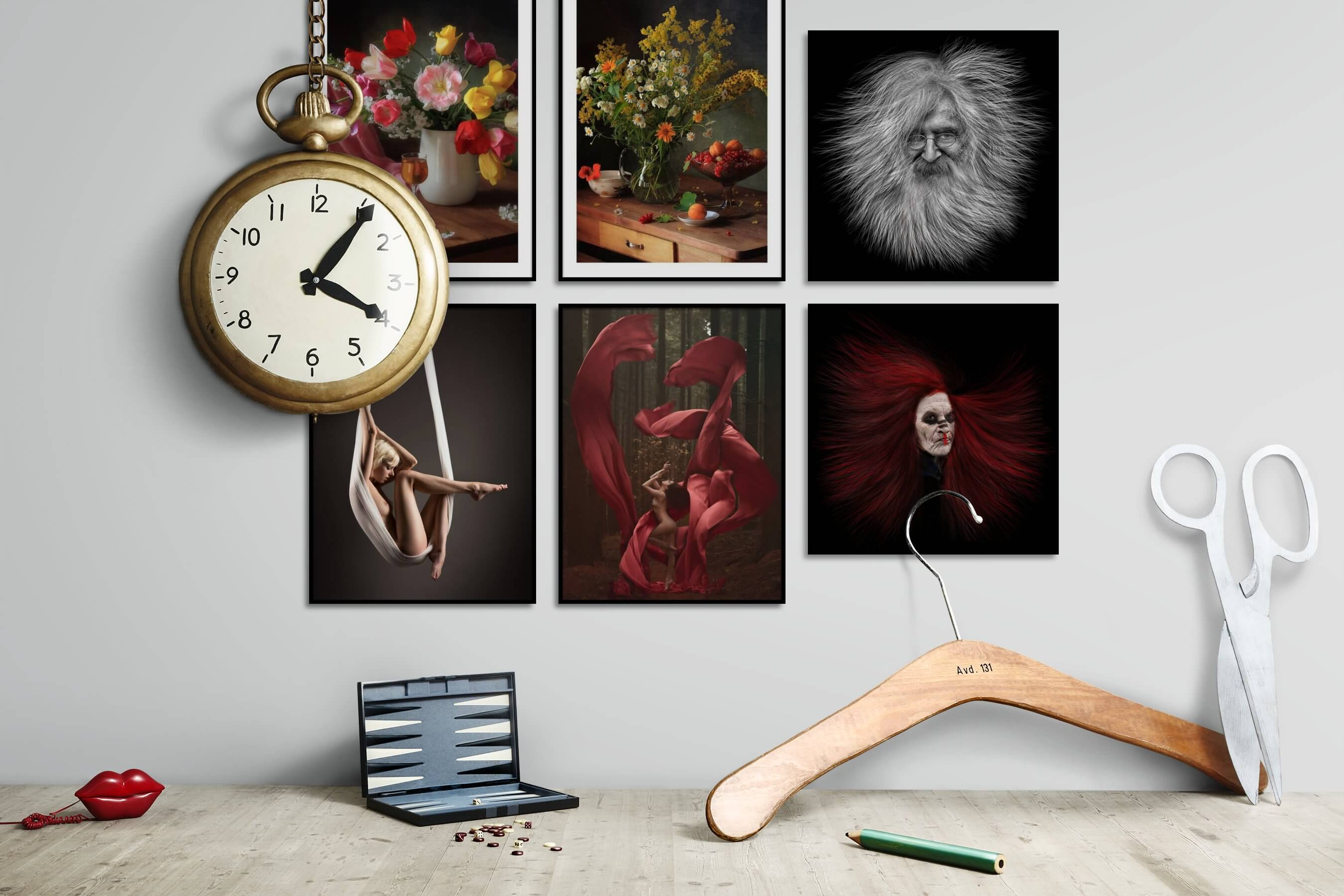 Gallery wall idea with six framed pictures arranged on a wall depicting Flowers & Plants, Vintage, Fashion & Beauty, Bold, Nature, Artsy, Black & White, Dark Tones, and For the Minimalist