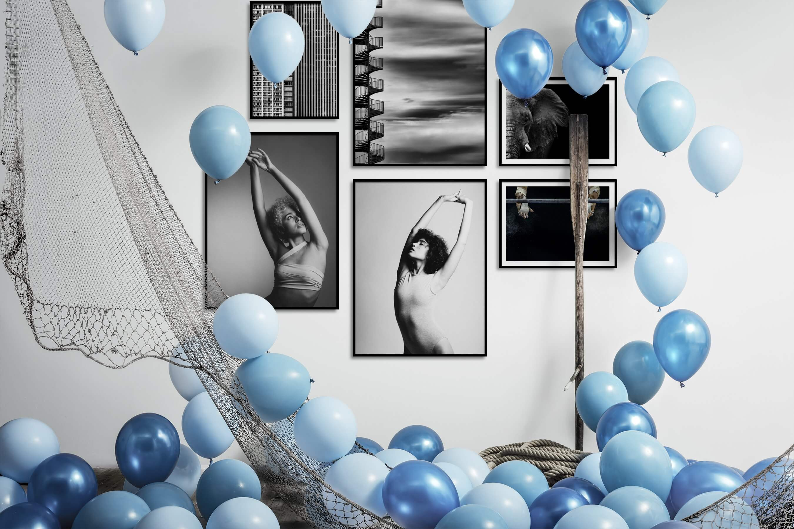 Gallery wall idea with six framed pictures arranged on a wall depicting Black & White, For the Maximalist, City Life, For the Moderate, Fashion & Beauty, For the Minimalist, Mindfulness, and Animals