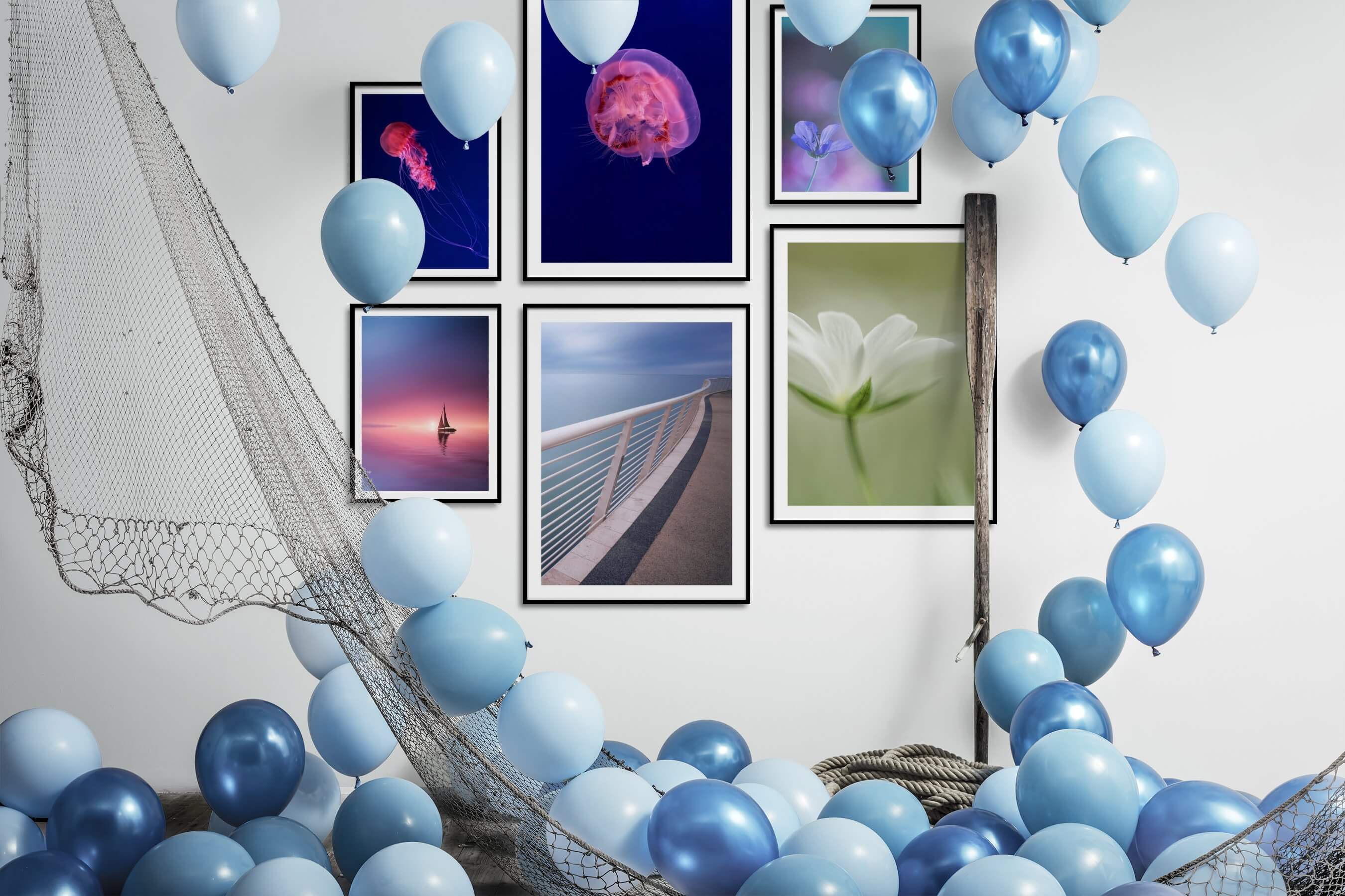 Gallery wall idea with six framed pictures arranged on a wall depicting For the Minimalist, Animals, Beach & Water, Mindfulness, For the Moderate, and Flowers & Plants