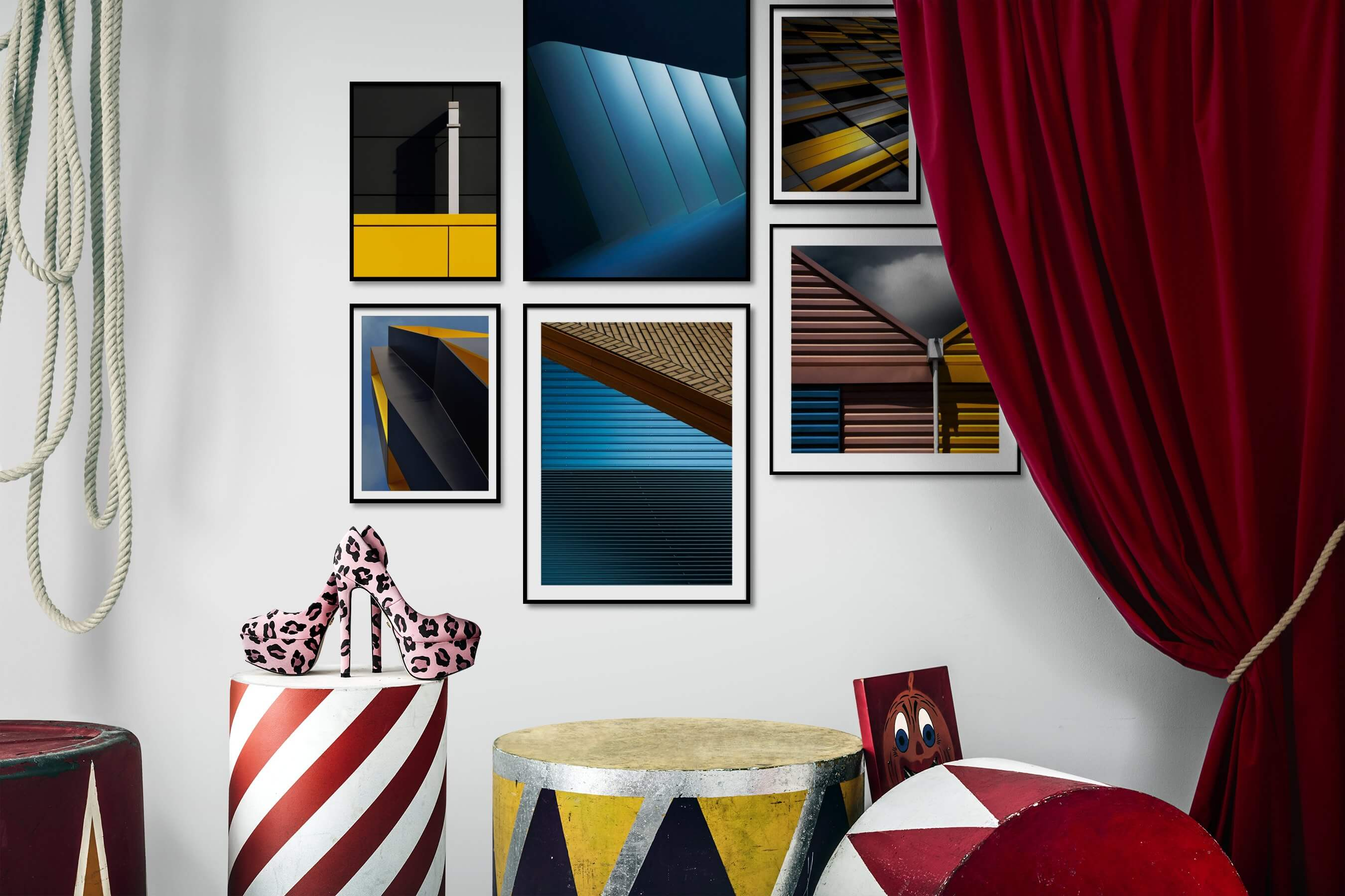 Gallery wall idea with six framed pictures arranged on a wall depicting For the Minimalist, For the Moderate, and For the Maximalist