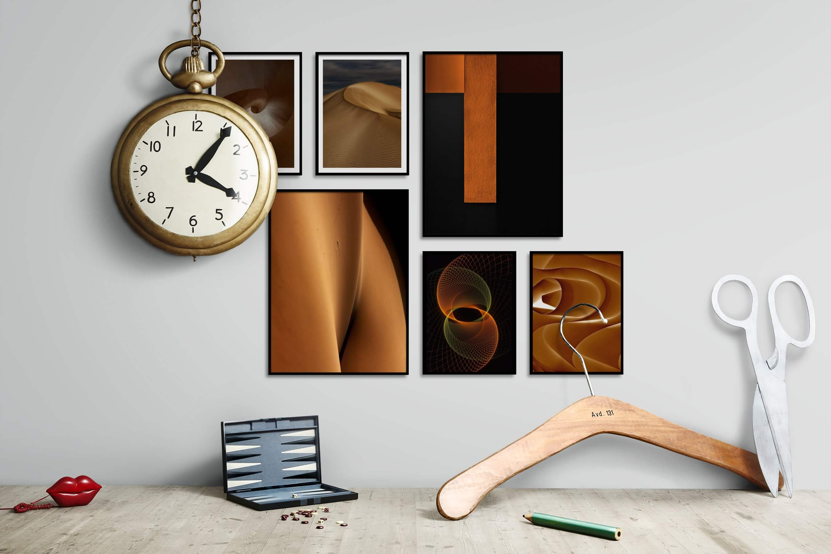 Gallery wall idea with six framed pictures arranged on a wall depicting For the Minimalist, Nature, For the Moderate, Dark Tones, and For the Maximalist