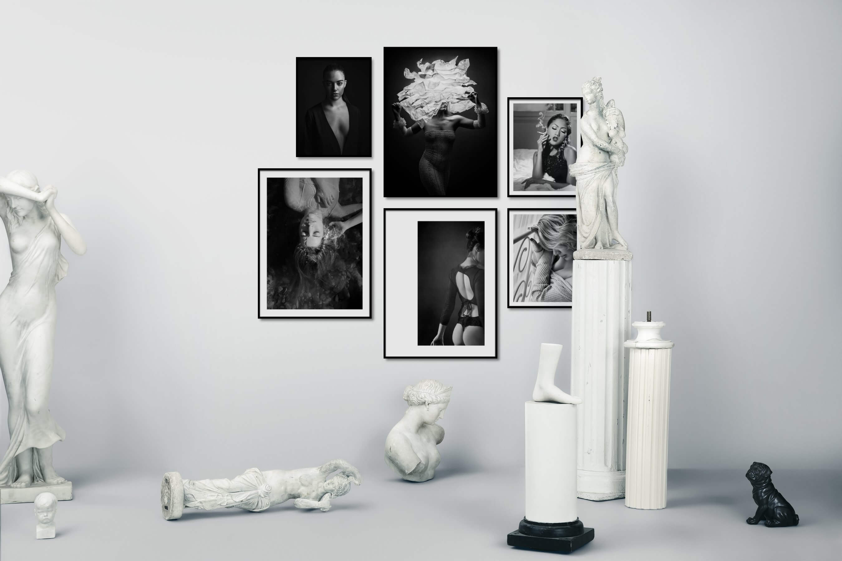 Gallery wall idea with six framed pictures arranged on a wall depicting Fashion & Beauty, Black & White, Dark Tones, Bold, Beach & Water, For the Minimalist, and Vintage