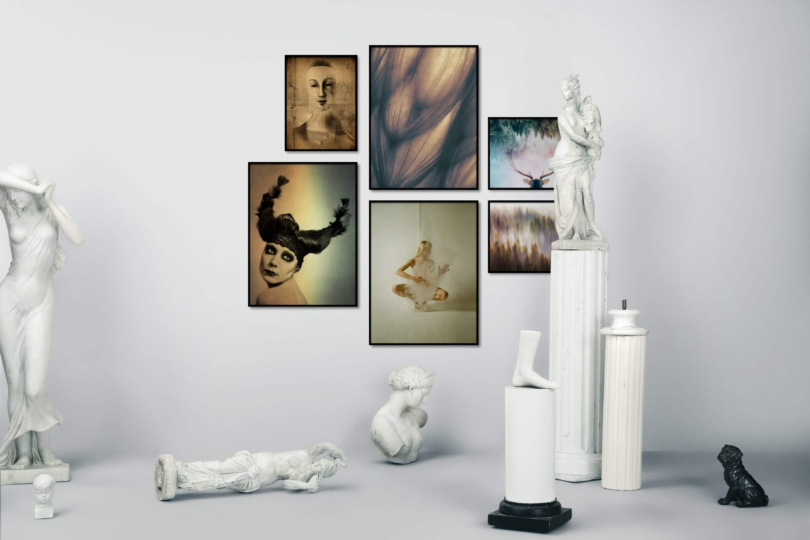 Gallery wall idea with six framed pictures arranged on a wall depicting Artsy, Vintage, For the Moderate, Flowers & Plants, Mindfulness, Nature, and Animals