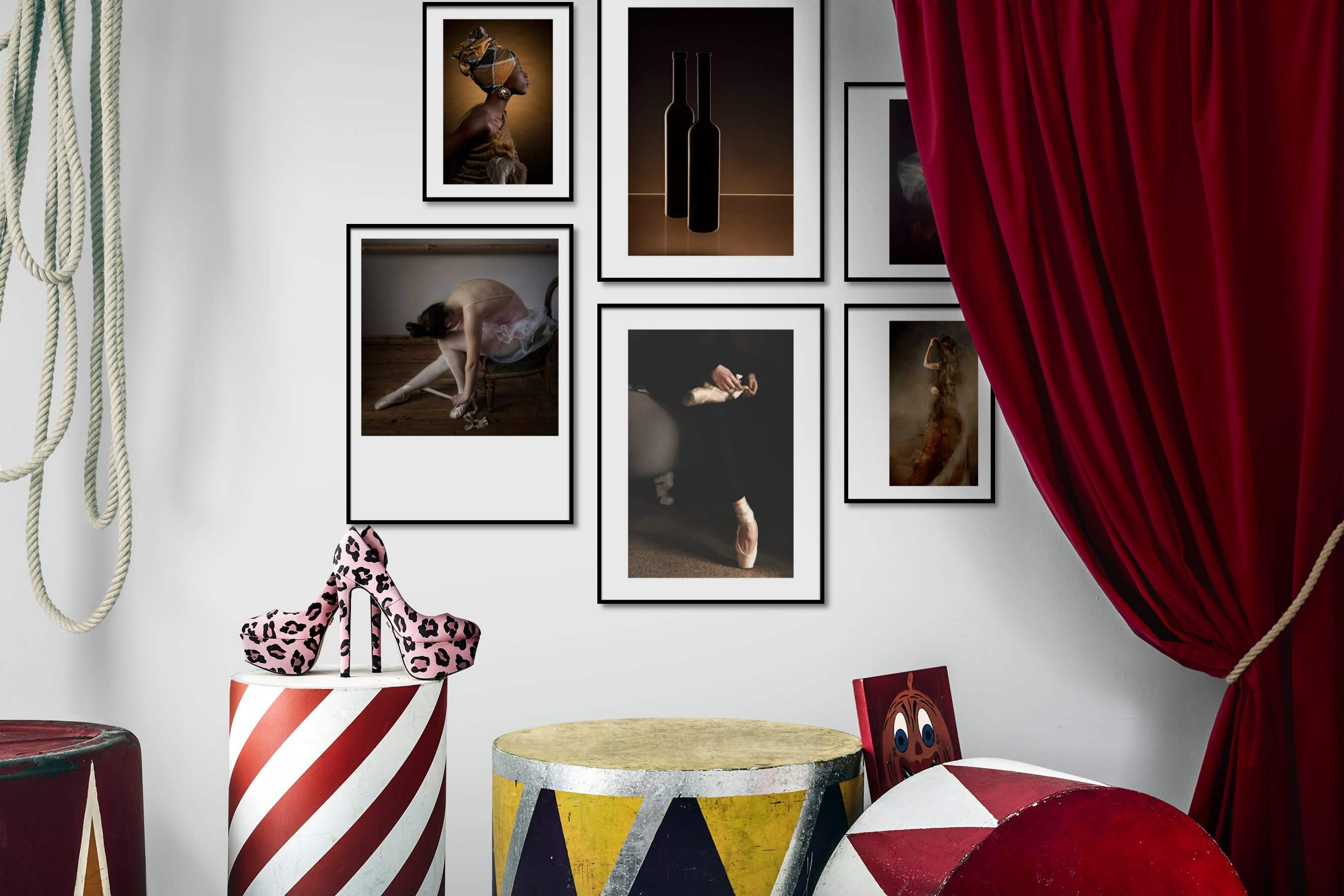 Gallery wall idea with six framed pictures arranged on a wall depicting Fashion & Beauty, For the Minimalist, For the Moderate, and Beach & Water