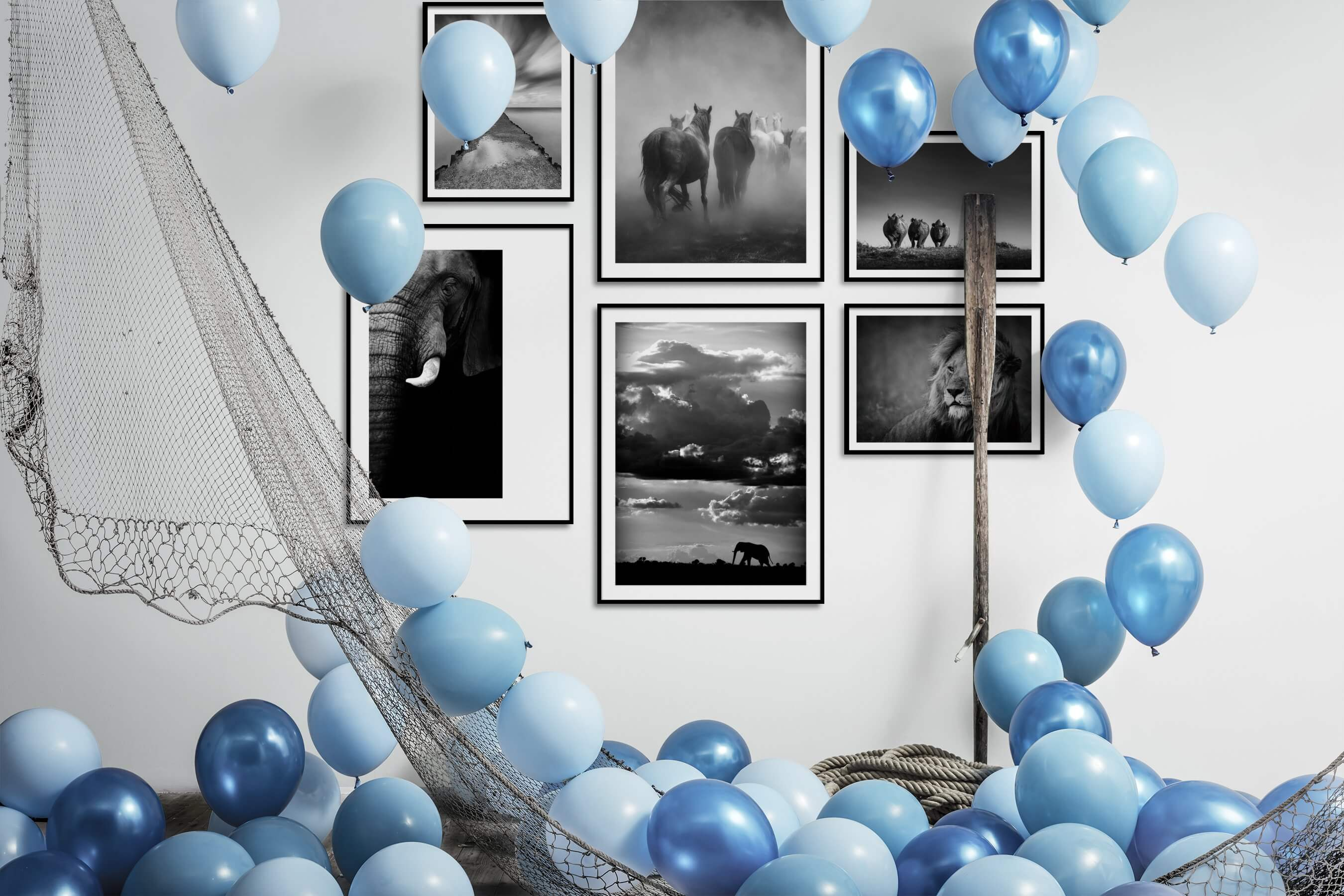 Gallery wall idea with six framed pictures arranged on a wall depicting Black & White, Beach & Water, Mindfulness, Animals, Country Life, For the Minimalist, and For the Moderate