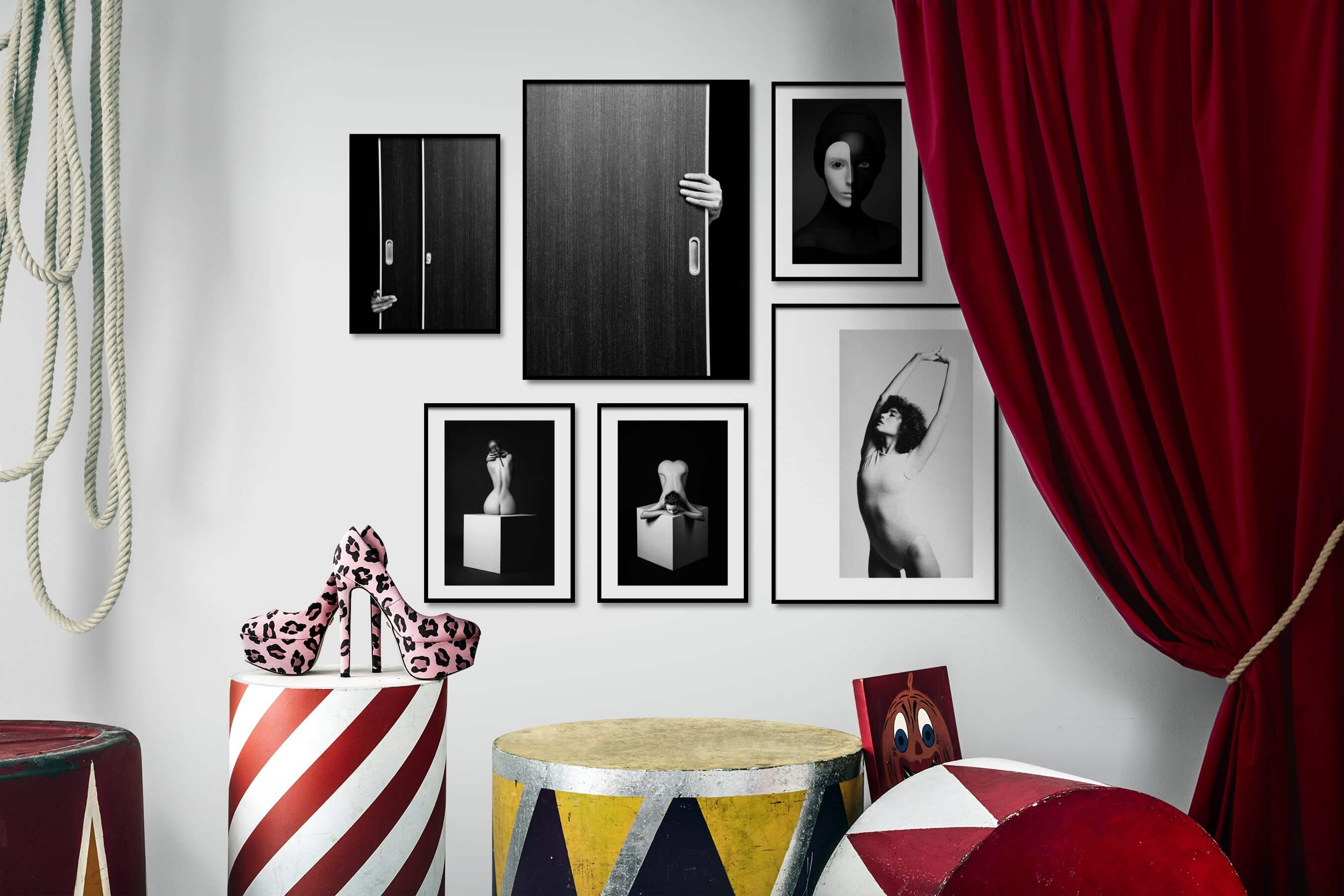 Gallery wall idea with six framed pictures arranged on a wall depicting Black & White, For the Minimalist, Artsy, Fashion & Beauty, and Mindfulness