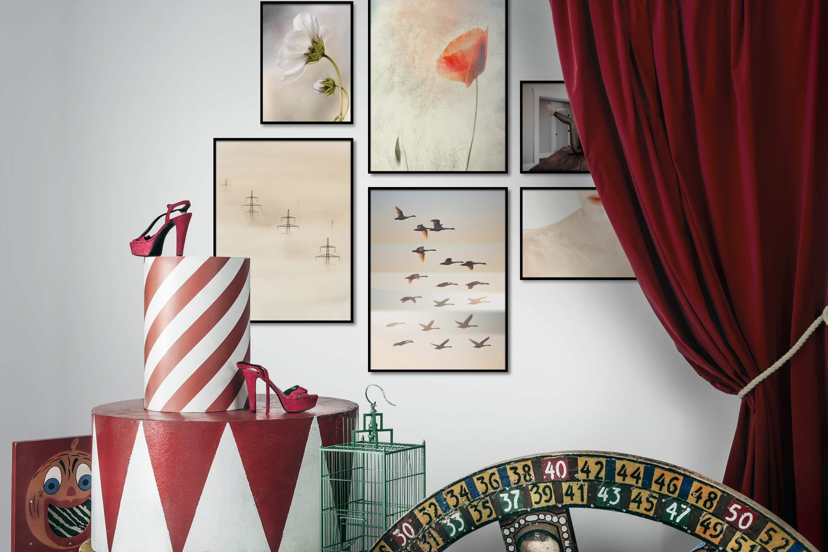 Gallery wall idea with six framed pictures arranged on a wall depicting Flowers & Plants, For the Minimalist, Vintage, Animals, and Fashion & Beauty